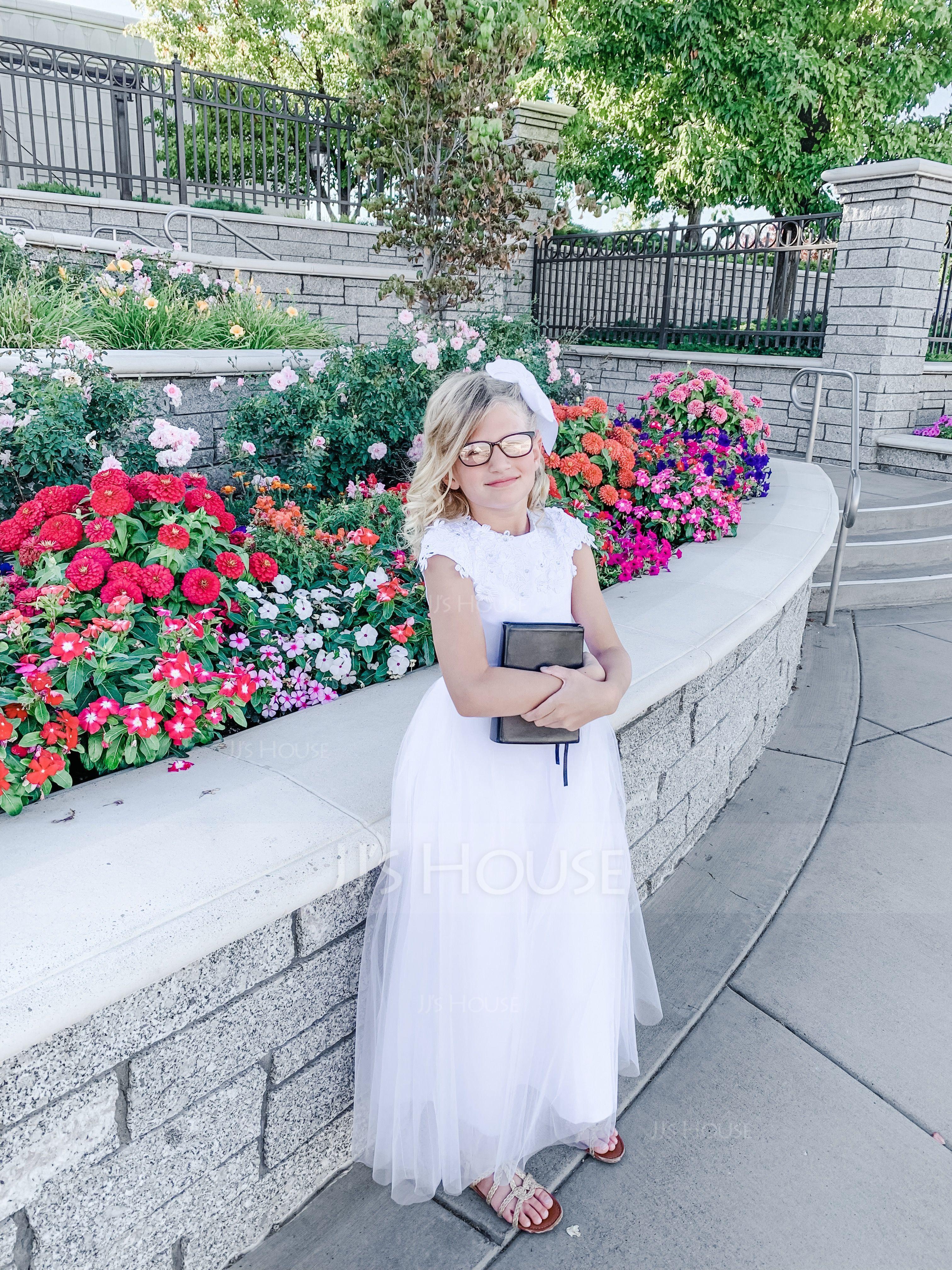Gala-Japon Vloer lengte Bloemenmeisjesjurken - Satijn/Tule Mouwloos Ronde Hals met Kralen/Applicaties Kant (010092939)