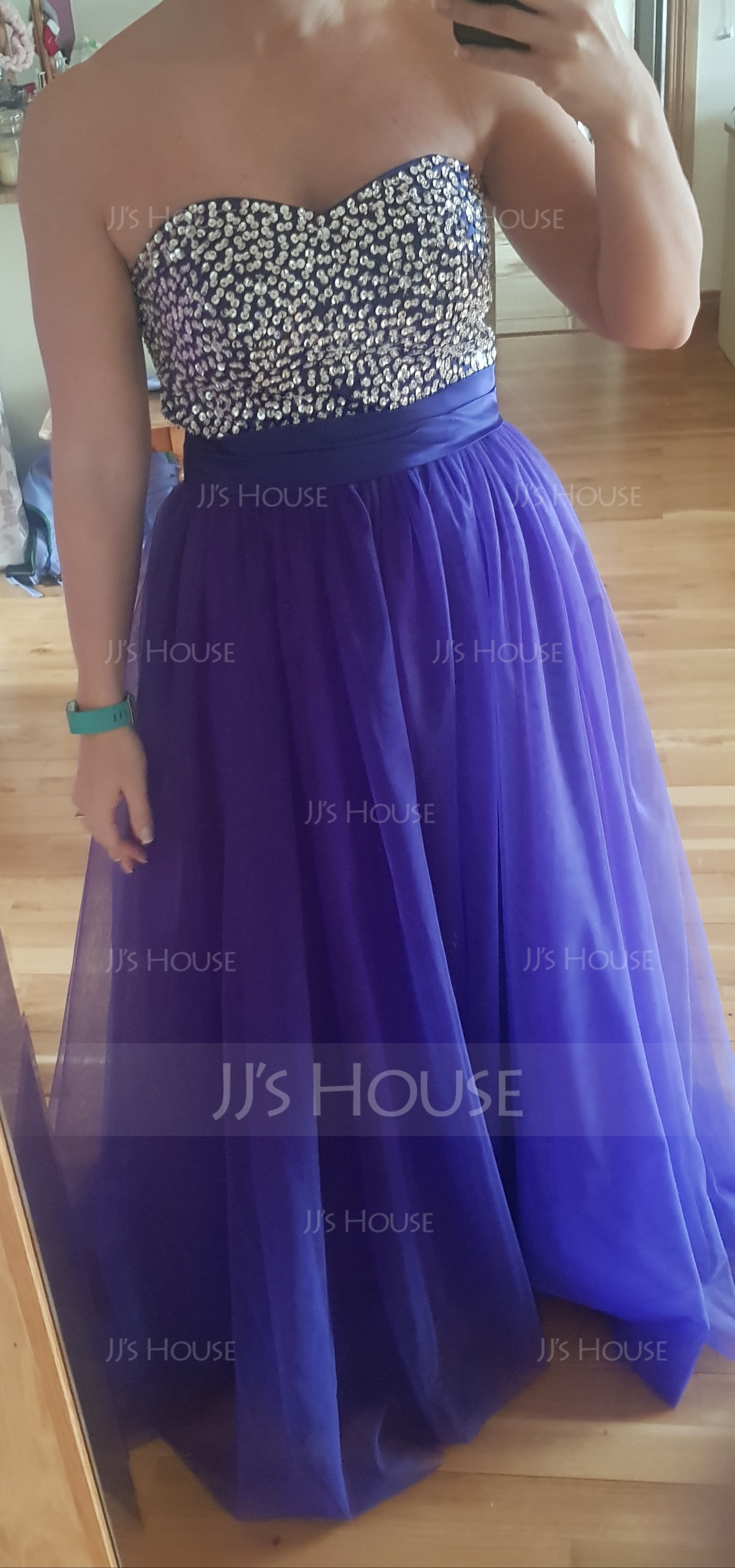 Ball-Gown Sweetheart Floor-Length Tulle Prom Dresses With Ruffle Beading Sequins (018004898)