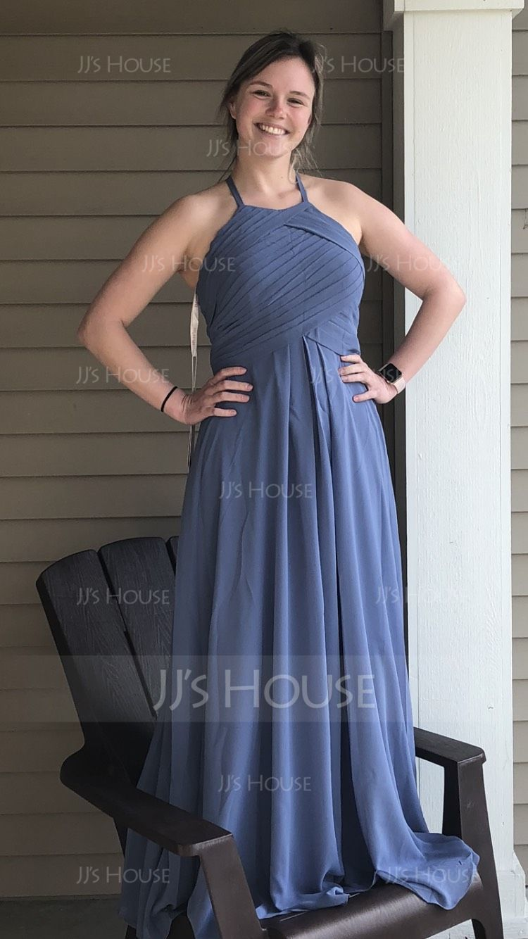 A-Line/Princess Scoop Neck Floor-Length Chiffon Evening Dress With Ruffle (017116487)