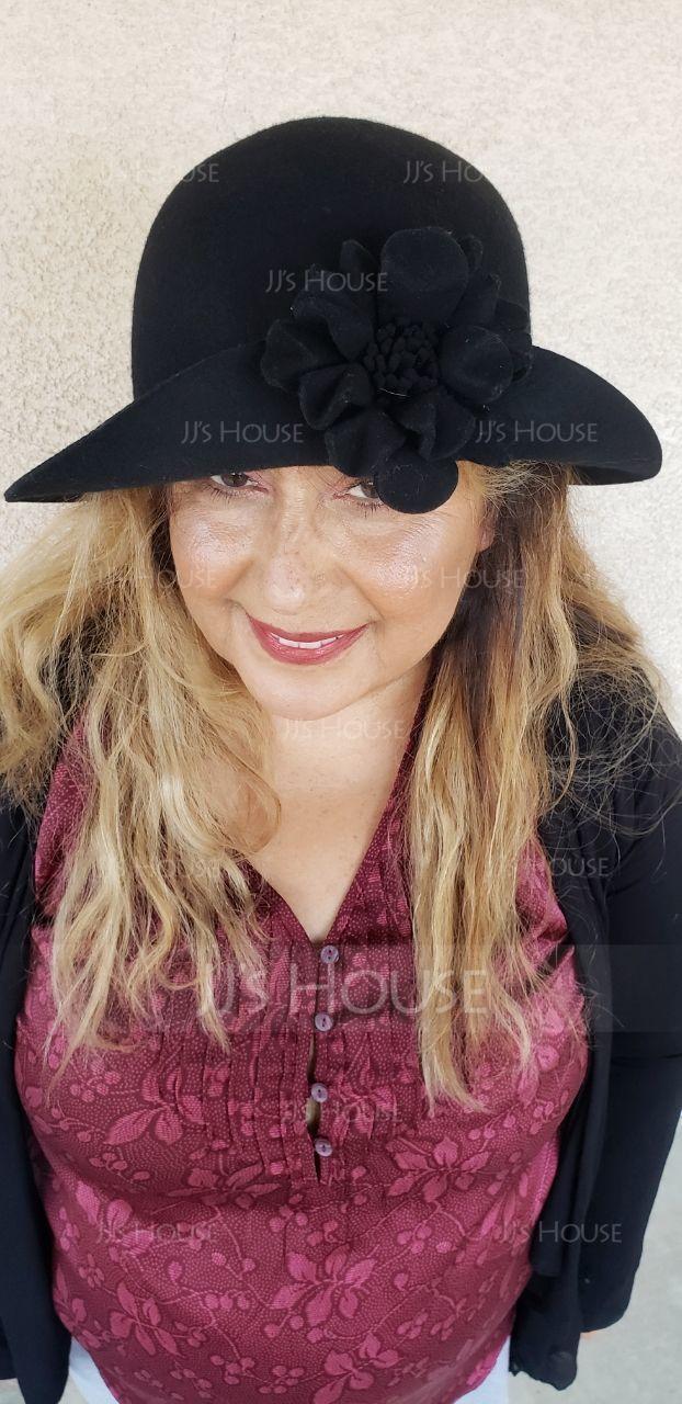 Ladies' Glamourous/Elegant/Simple Wool With Flower Floppy Hat (196187831)
