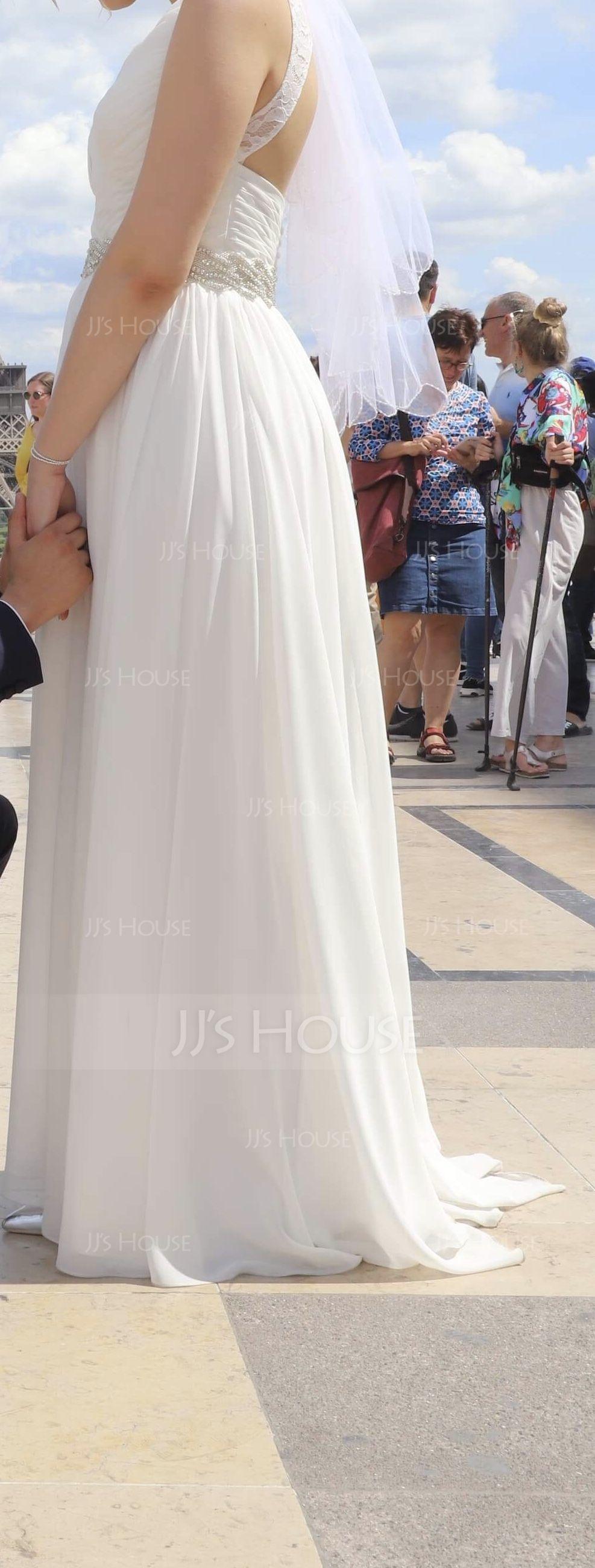Coupe Évasée Col V Balayage/Pinceau train Mousseline Robe de mariée avec Plissé Dentelle Brodé Paillettes (002118433)