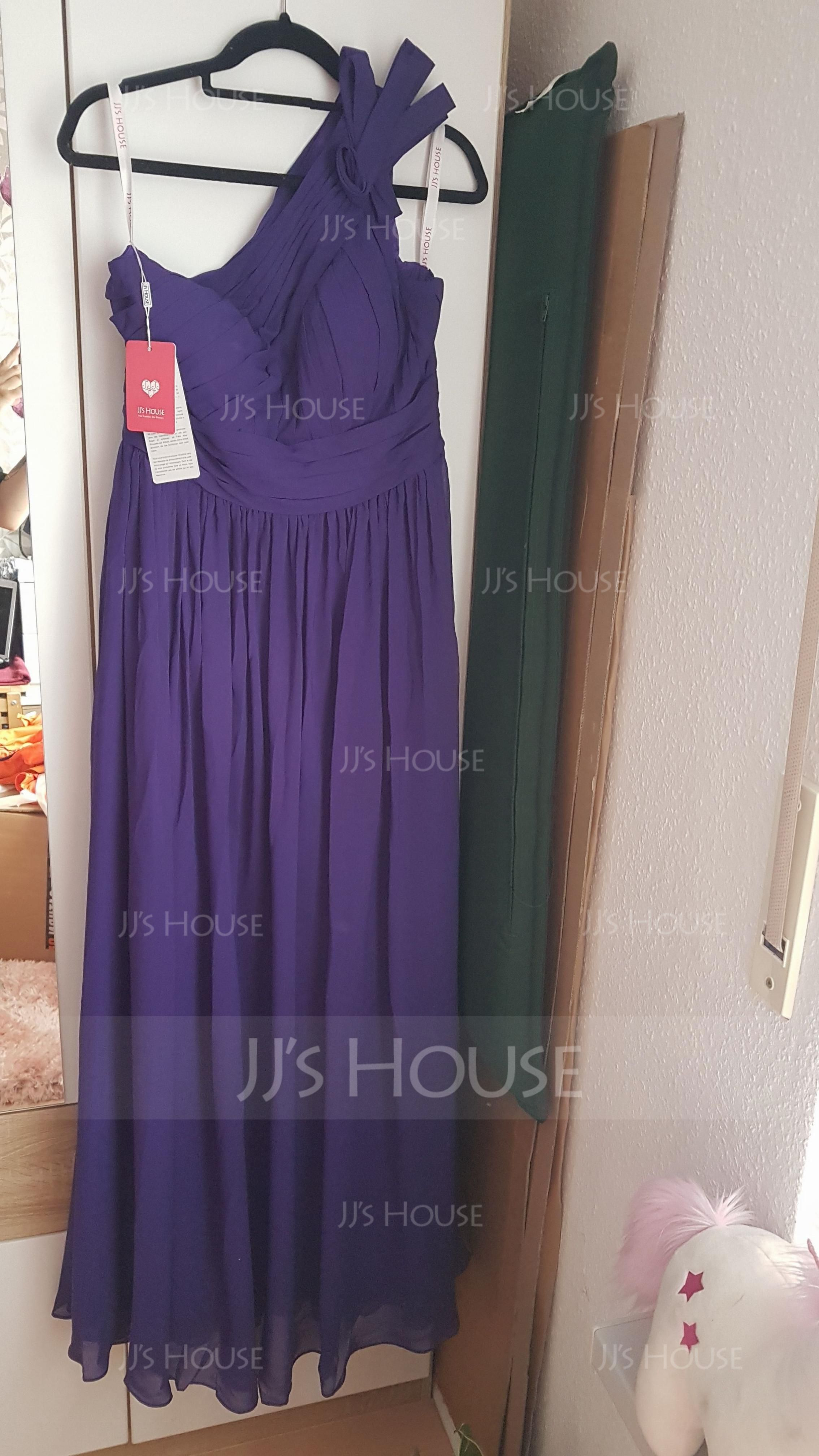A-Line/Princess One-Shoulder Floor-Length Chiffon Bridesmaid Dress With Ruffle Flower(s) (007116634)