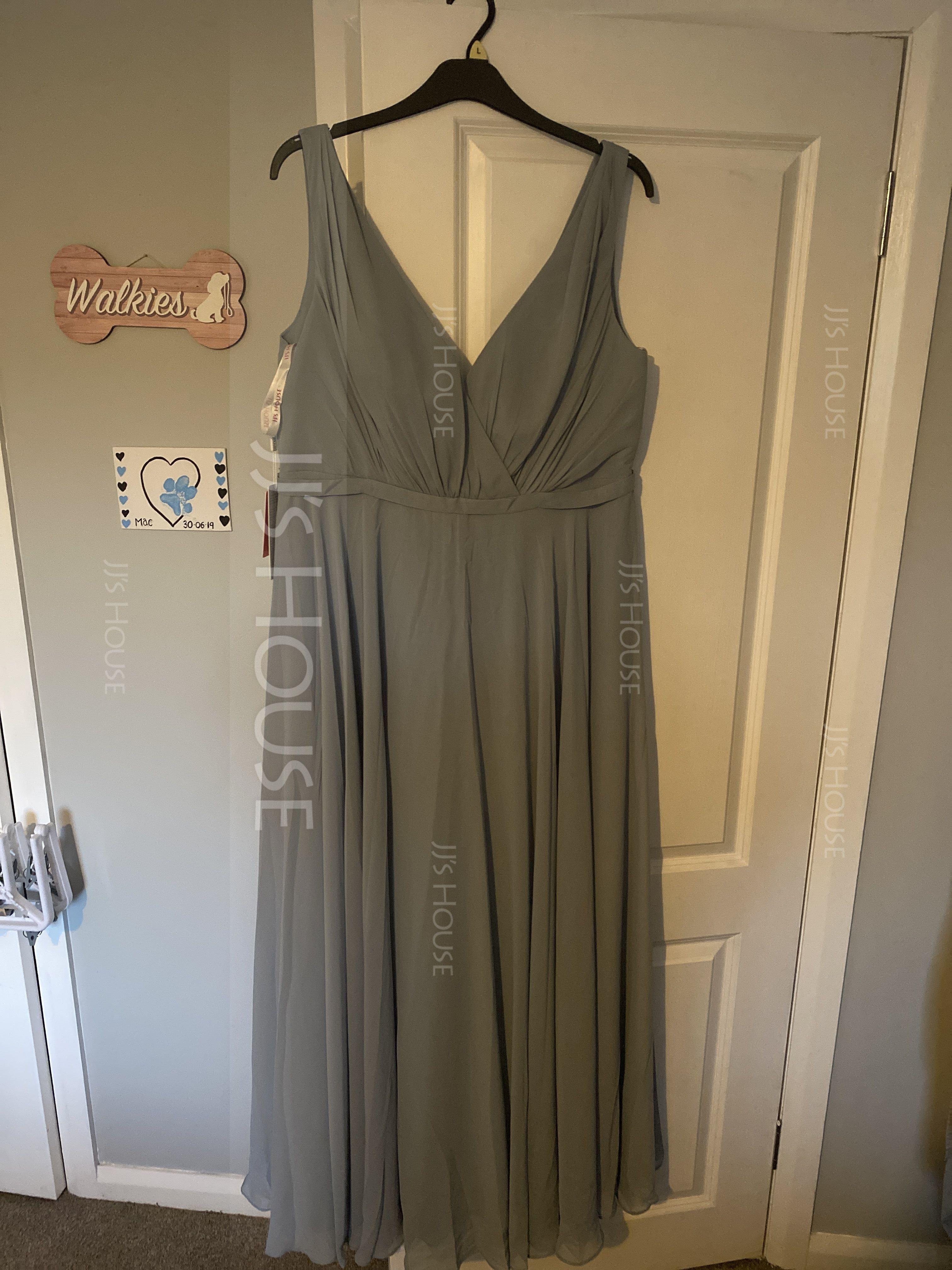 V-neck Floor-Length Chiffon Prom Dresses With Ruffle (272194762)