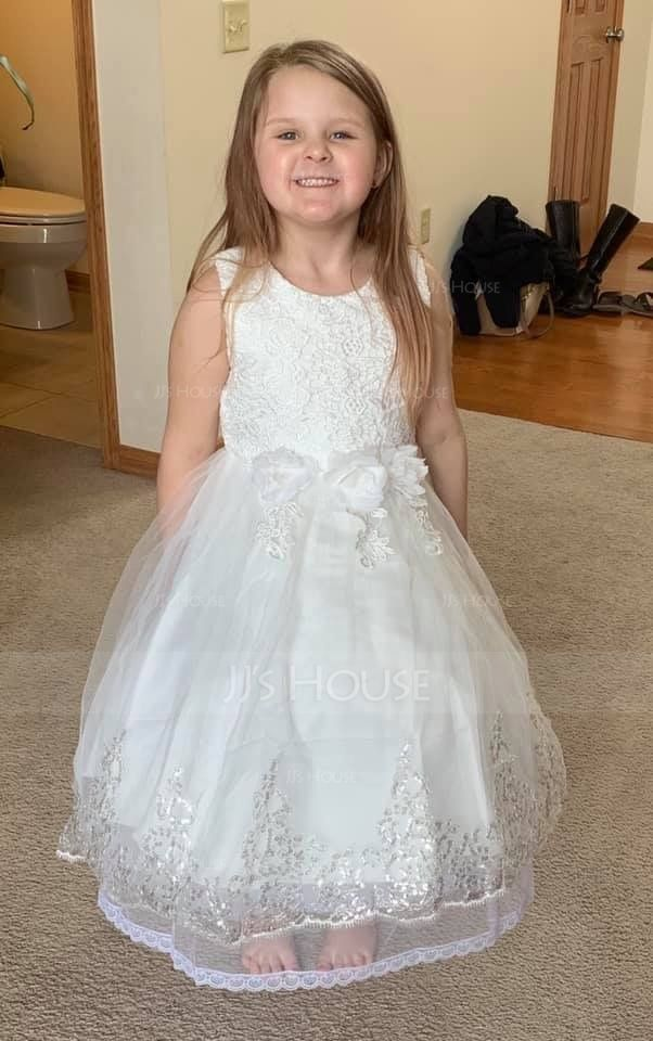 Ball Gown Knee-length/Asymmetrical Flower Girl Dress - Cotton Blends Sleeveless Jewel With Lace/Flower(s) (010087484)