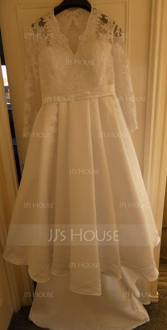 プリンセスライン Vネック コート・トレーン サテン ウエディングドレス とともに 弓