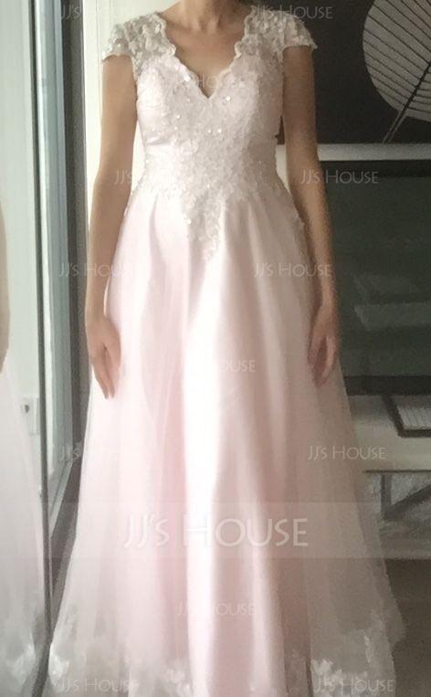 プリンセスライン Vネック マキシレングス チュール ウエディングドレス とともに ビーズ スパンコール