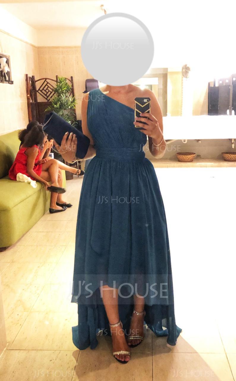 One-Shoulder Asymmetrical Chiffon Bridesmaid Dress (266213417)