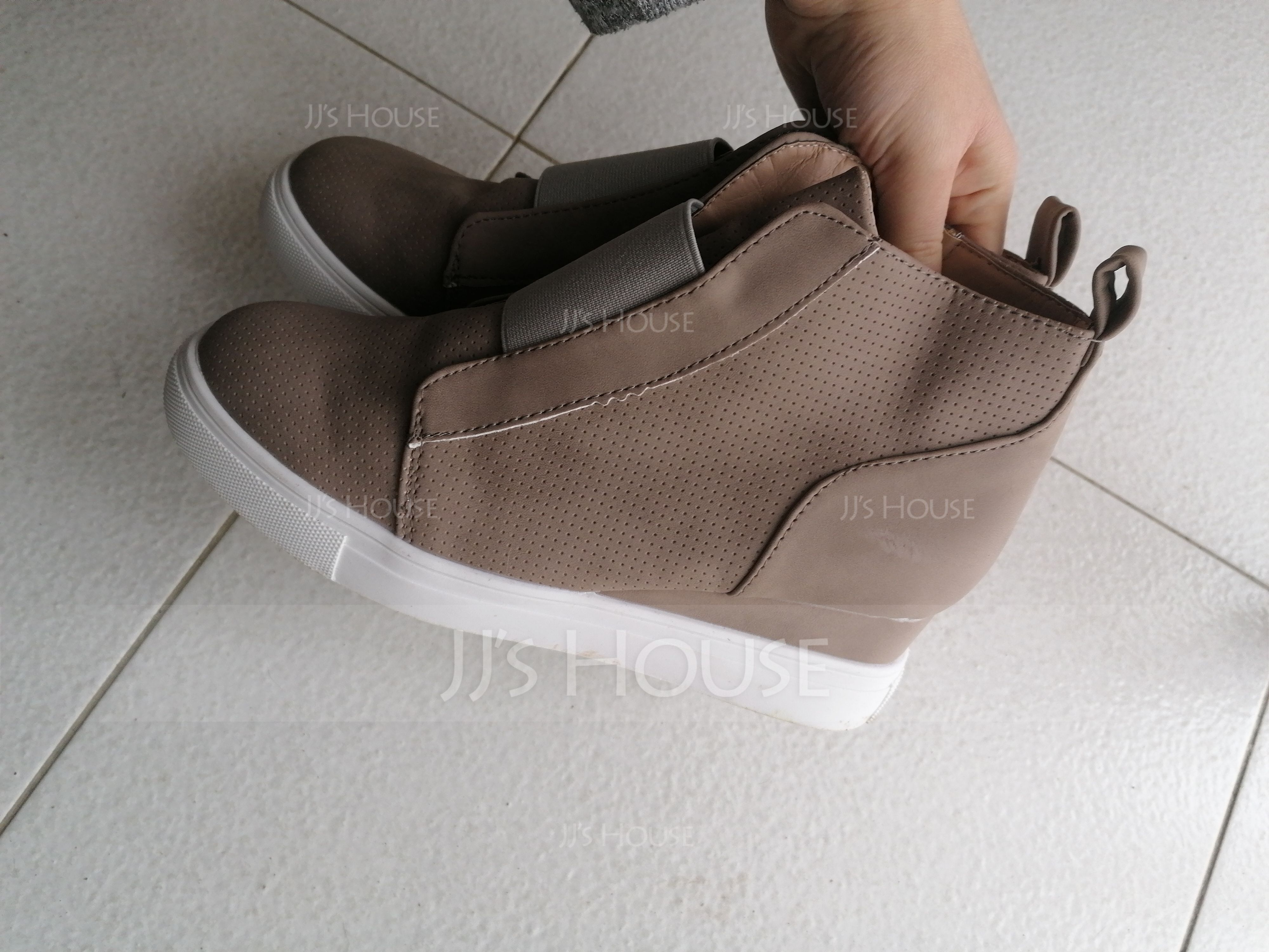 女性用 スエード ウエッジヒール プラットフォーム ウェッジ とともに ジッパー 靴