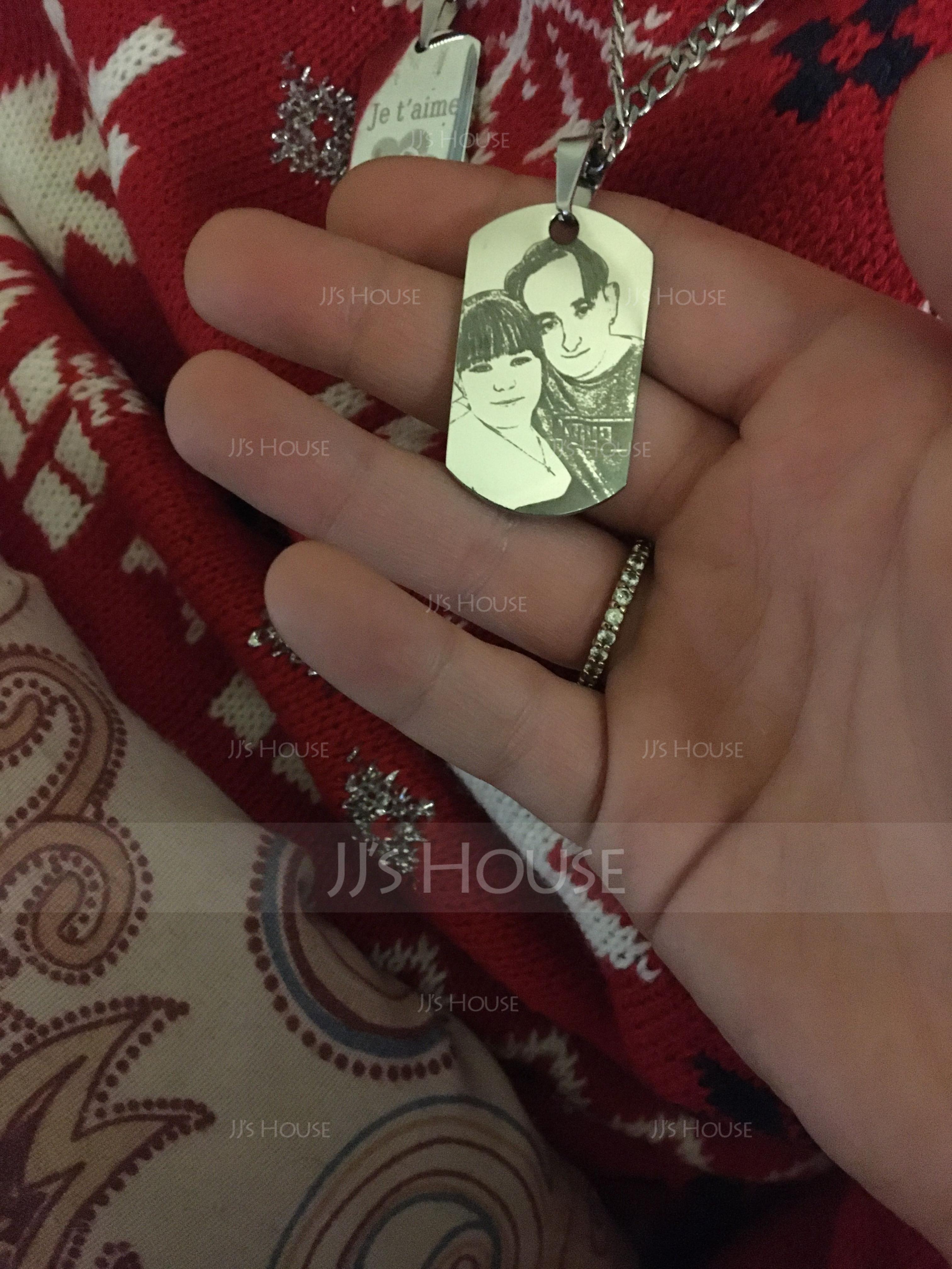 Personalized silver Gravyr / inristad Märka Svartvitt Foto Halsband - Mors Dag Presenter