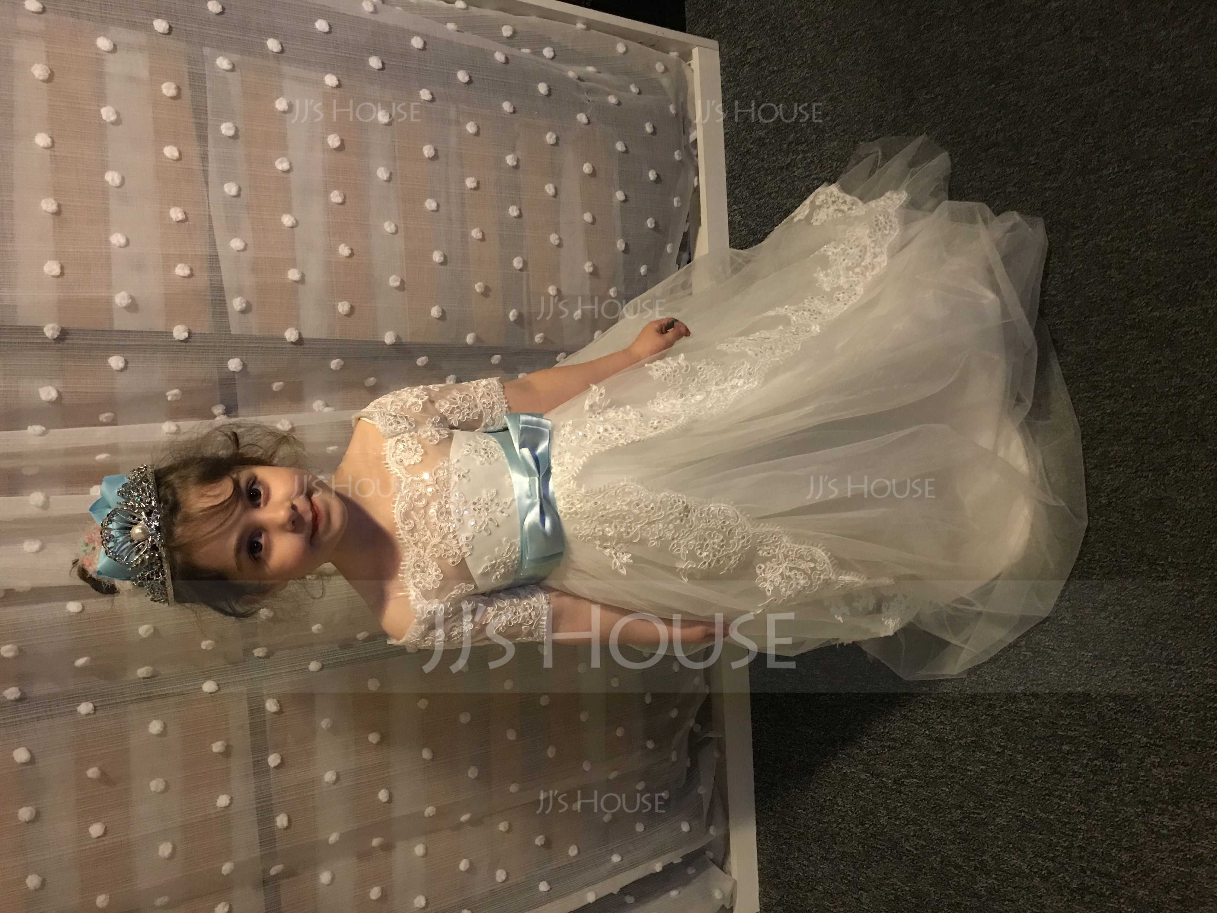 Ball-Gown/Princess Off-the-Shoulder Watteau Train Tulle Junior Bridesmaid Dress With Sash Bow(s)