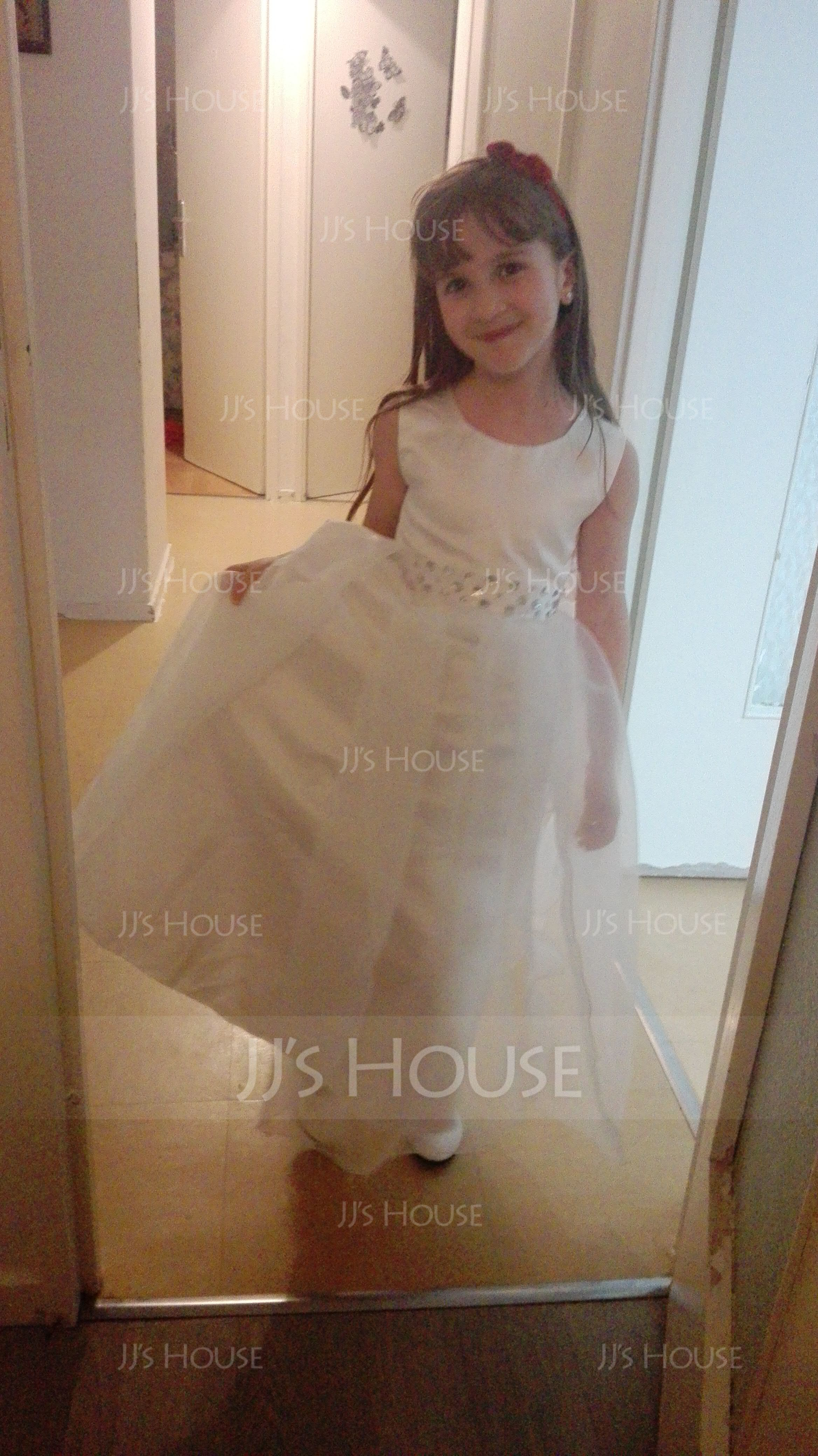 Ball Gown Ankle-length Flower Girl Dress - Cotton Blends Sleeveless Scoop Neck With Bow(s)/Rhinestone (010087789)