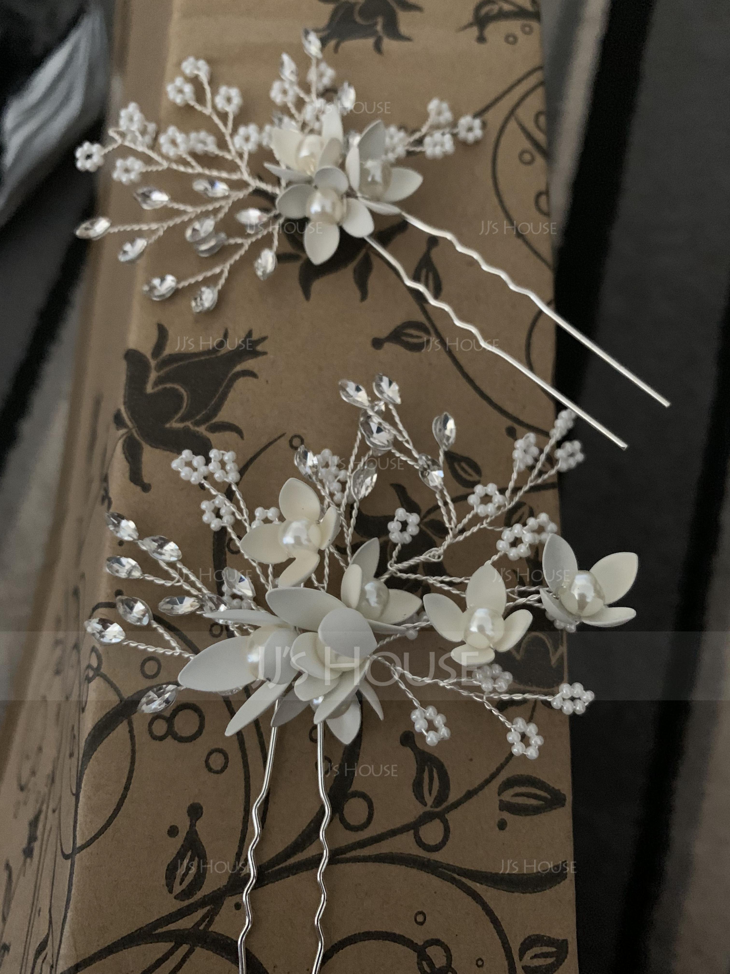 Elegant Rhinestone Hairpins With Rhinestone/Venetian Pearl (Set of 2) (042192903)