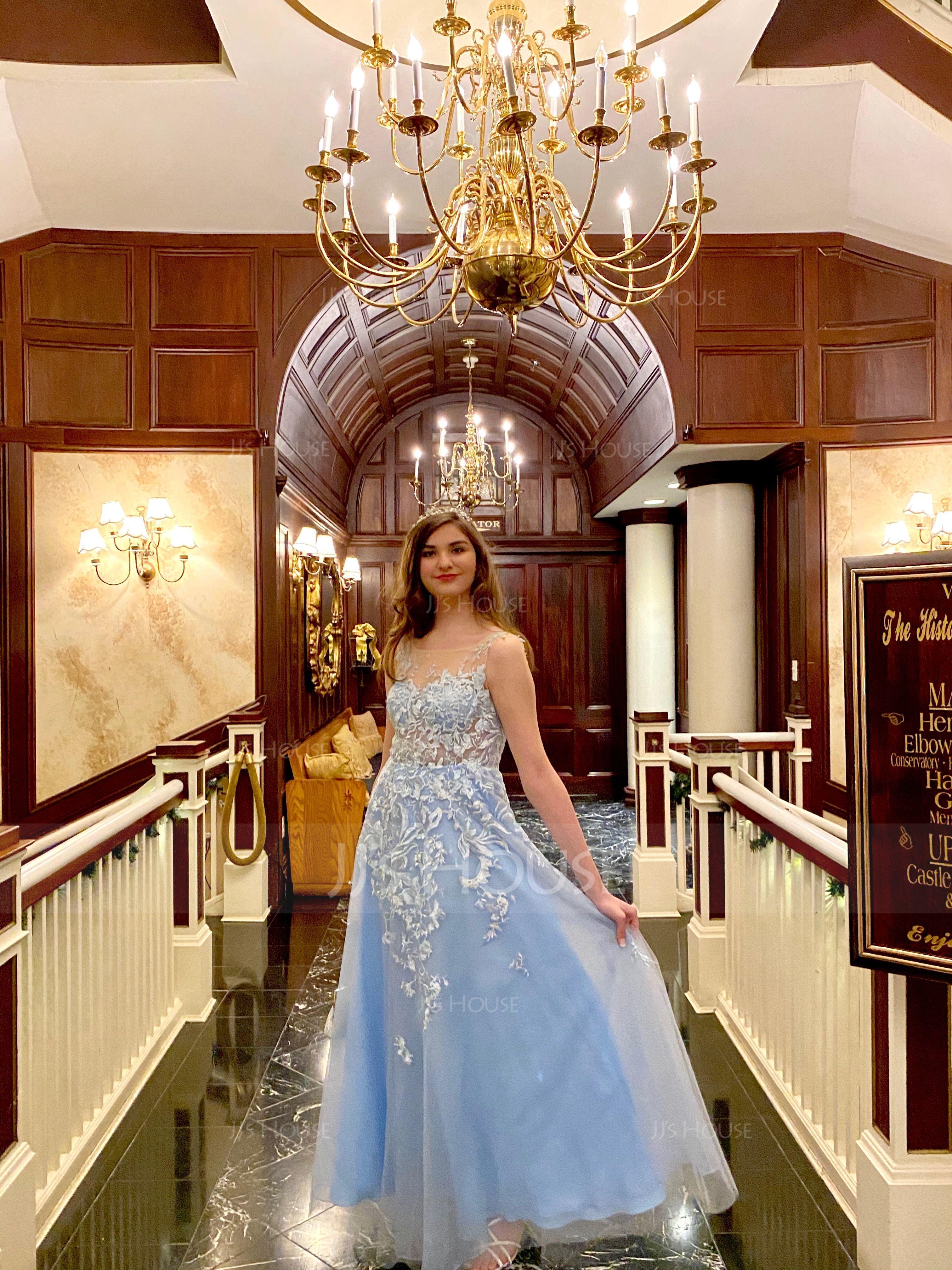 A-Line/Princess Scoop Neck Floor-Length Tulle Prom Dresses (018186891)