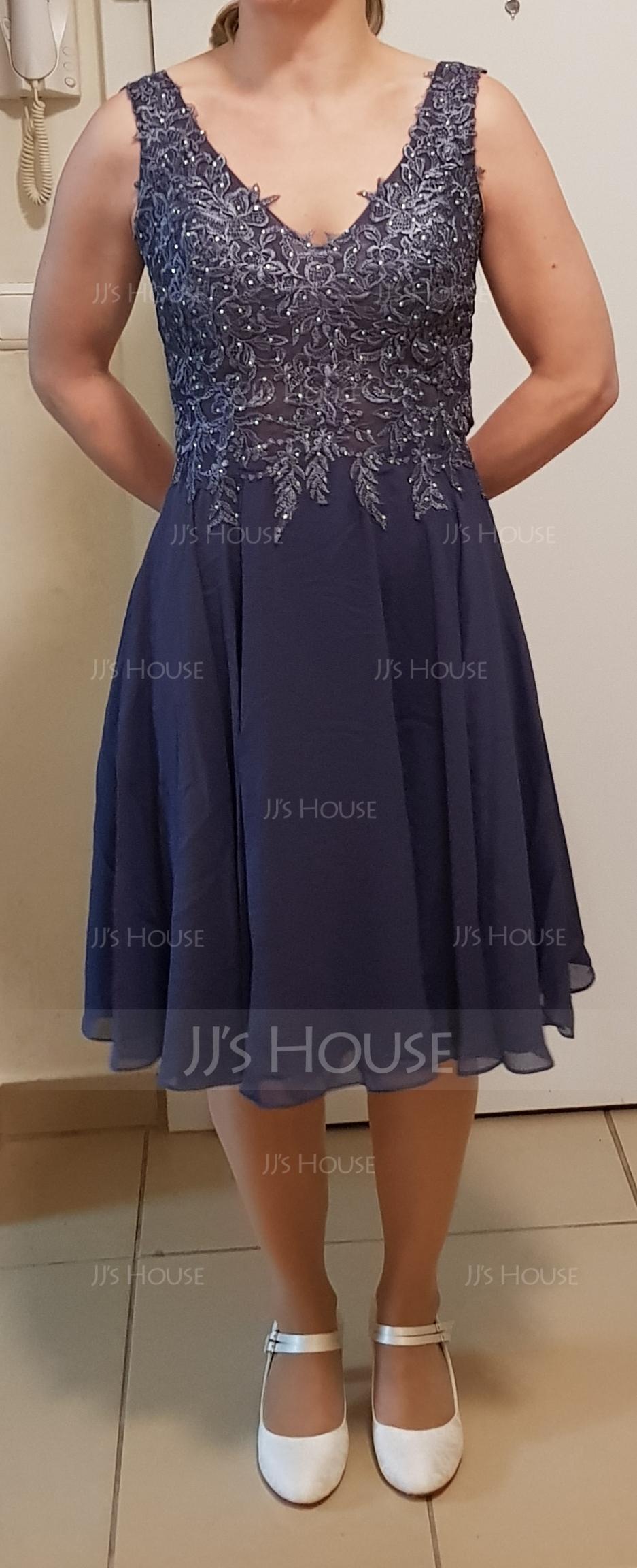 Corte A Decote V Coquetel Tecido de seda Vestido de boas vindas com Beading (022203156)