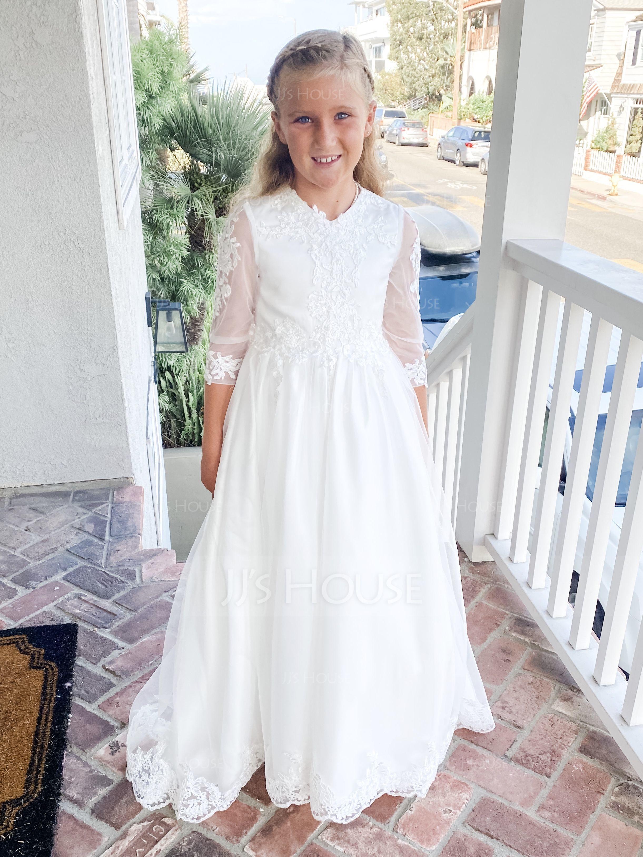 Áčkové Šaty Dlouhá vlečka Flower Girl Dress - Tyl/Krajka Dlouhé rukávy Výstřih (010183550)