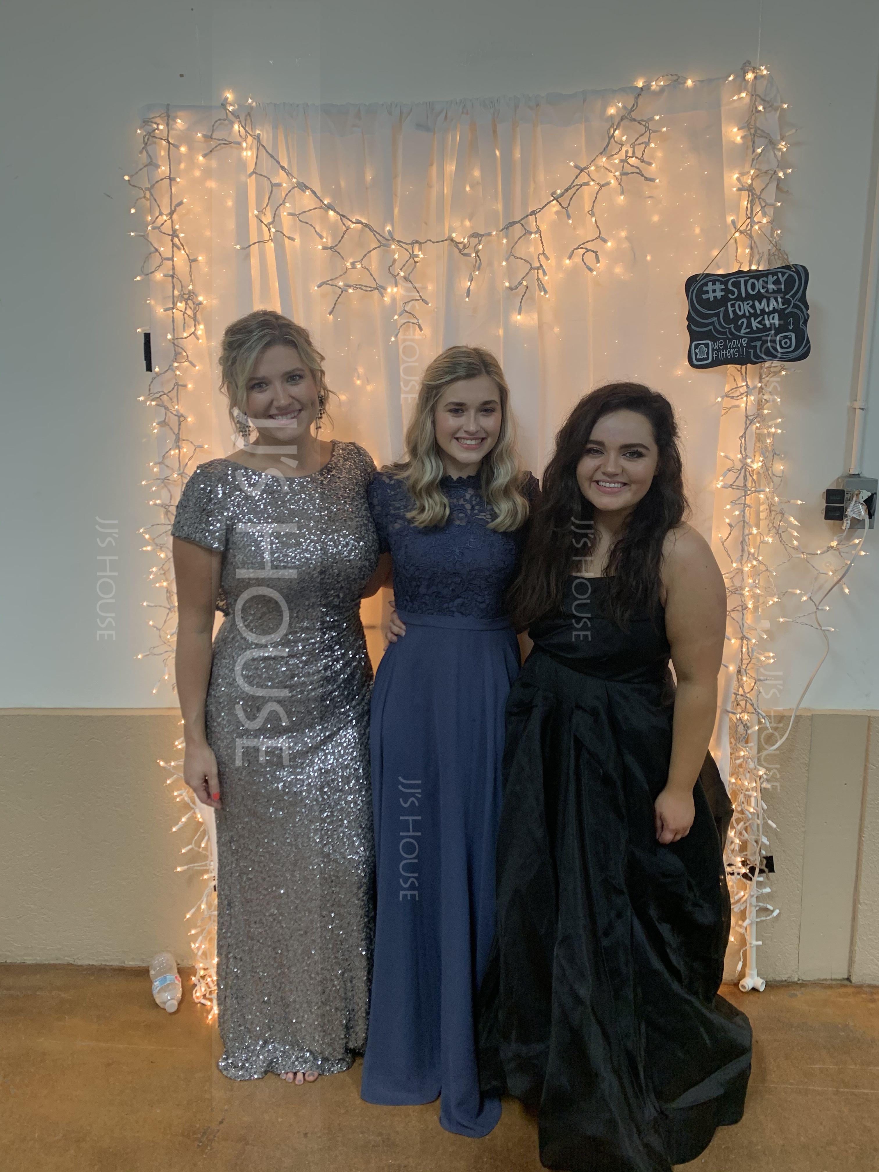 A-Line High Neck Floor-Length Chiffon Prom Dresses (018186892)