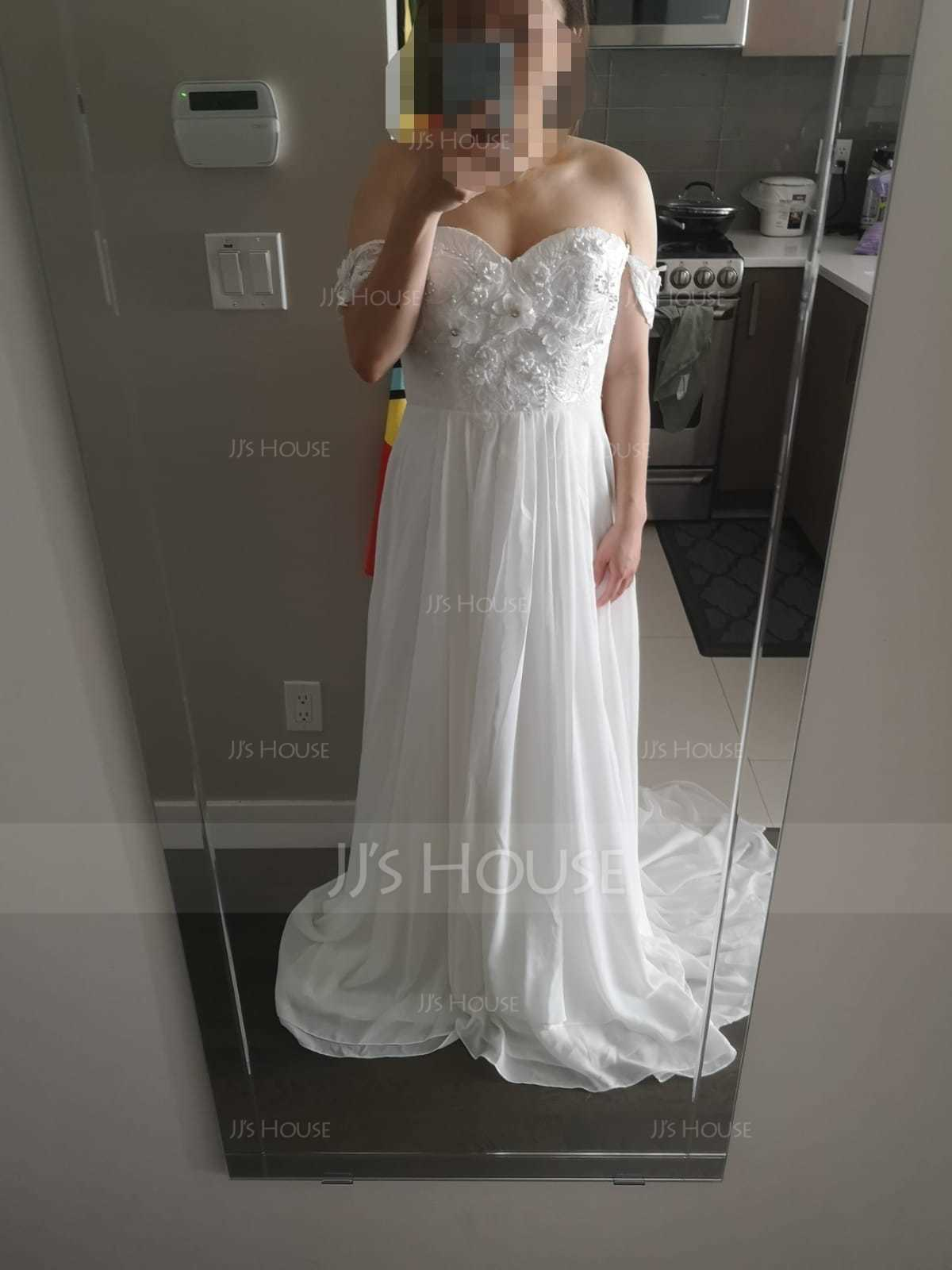 A-Line/Princess Off-the-Shoulder Sweep Train Chiffon Wedding Dress With Lace Beading Flower(s) (002118437)