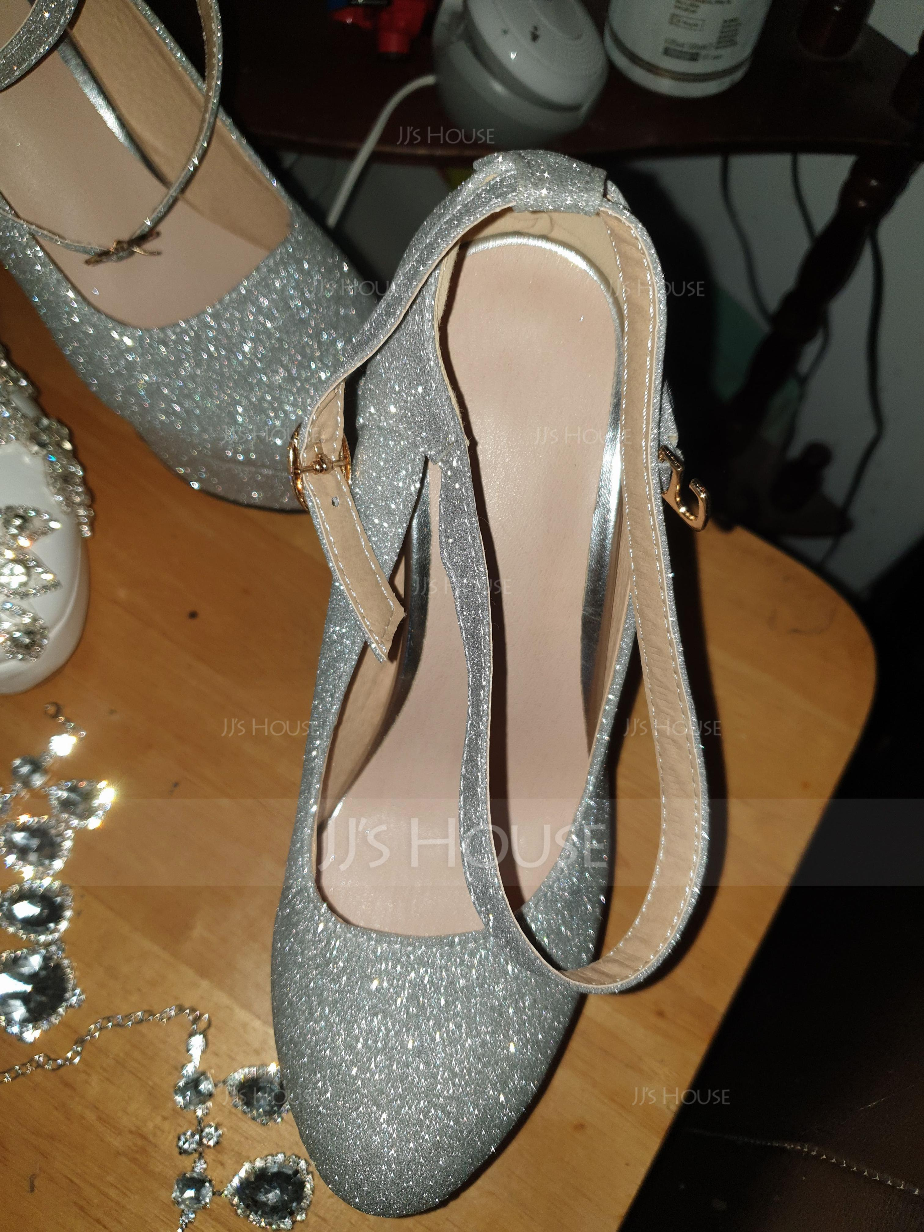 Women's Leatherette Chunky Heel Platform Pumps With Sequin