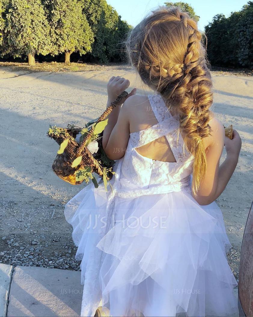 Robe Marquise/Princesse Longueur genou Robes à Fleurs pour Filles - Tulle Sans manches Bretelles (010089505)