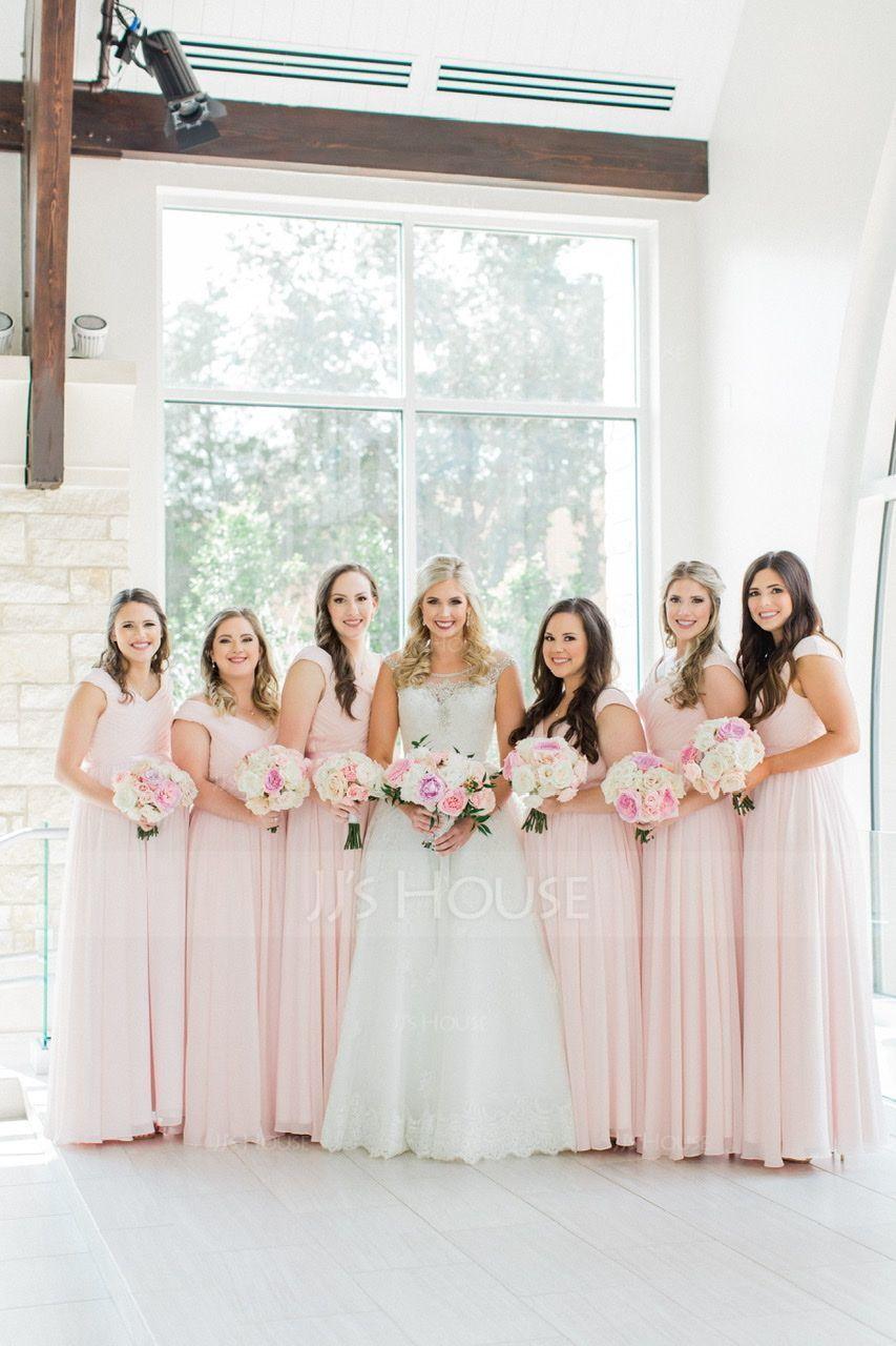 V-neck Floor-Length Chiffon Bridesmaid Dress With Ruffle (266197919)