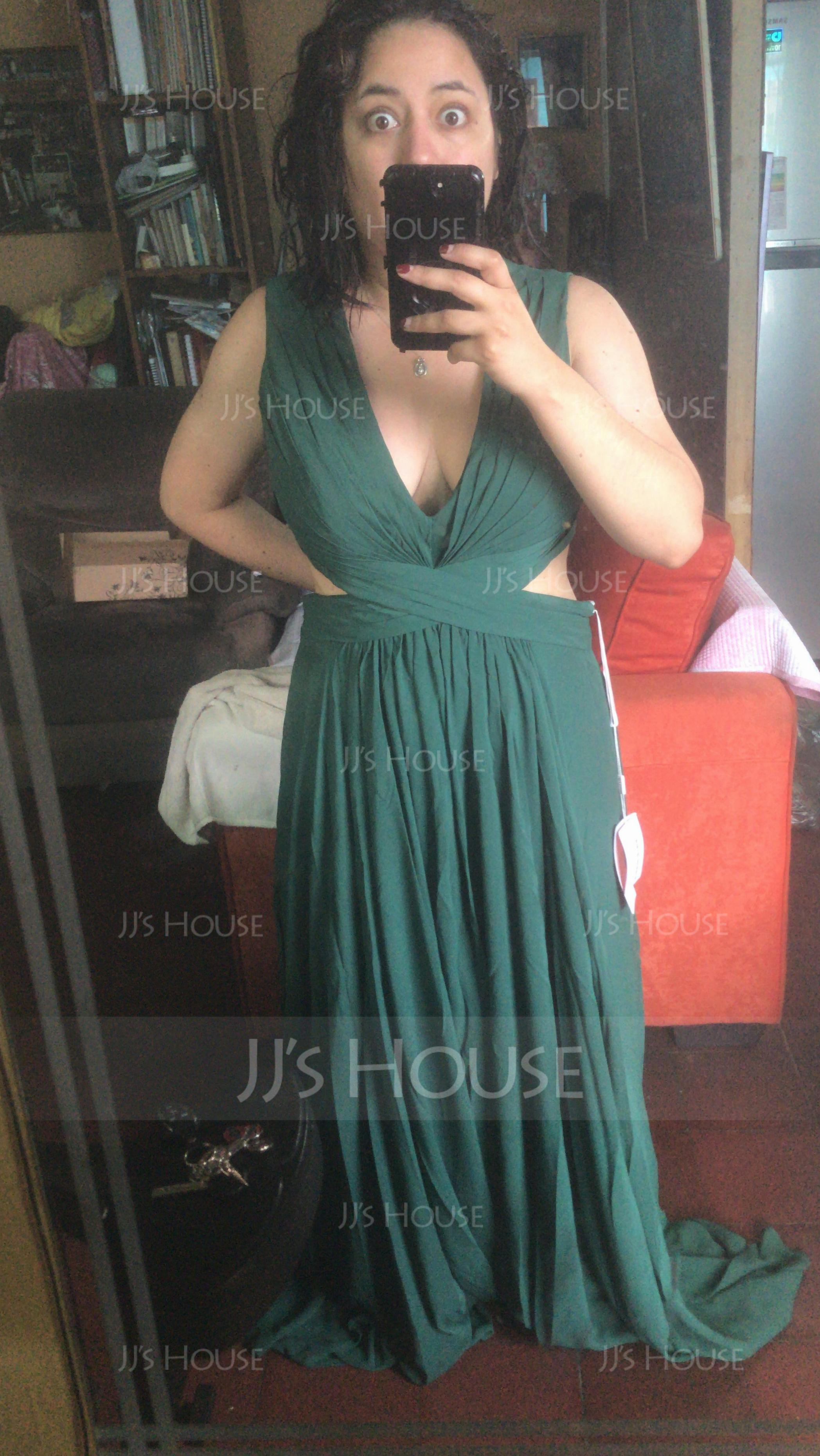 V-neck Floor-Length Chiffon Evening Dress (271194540)