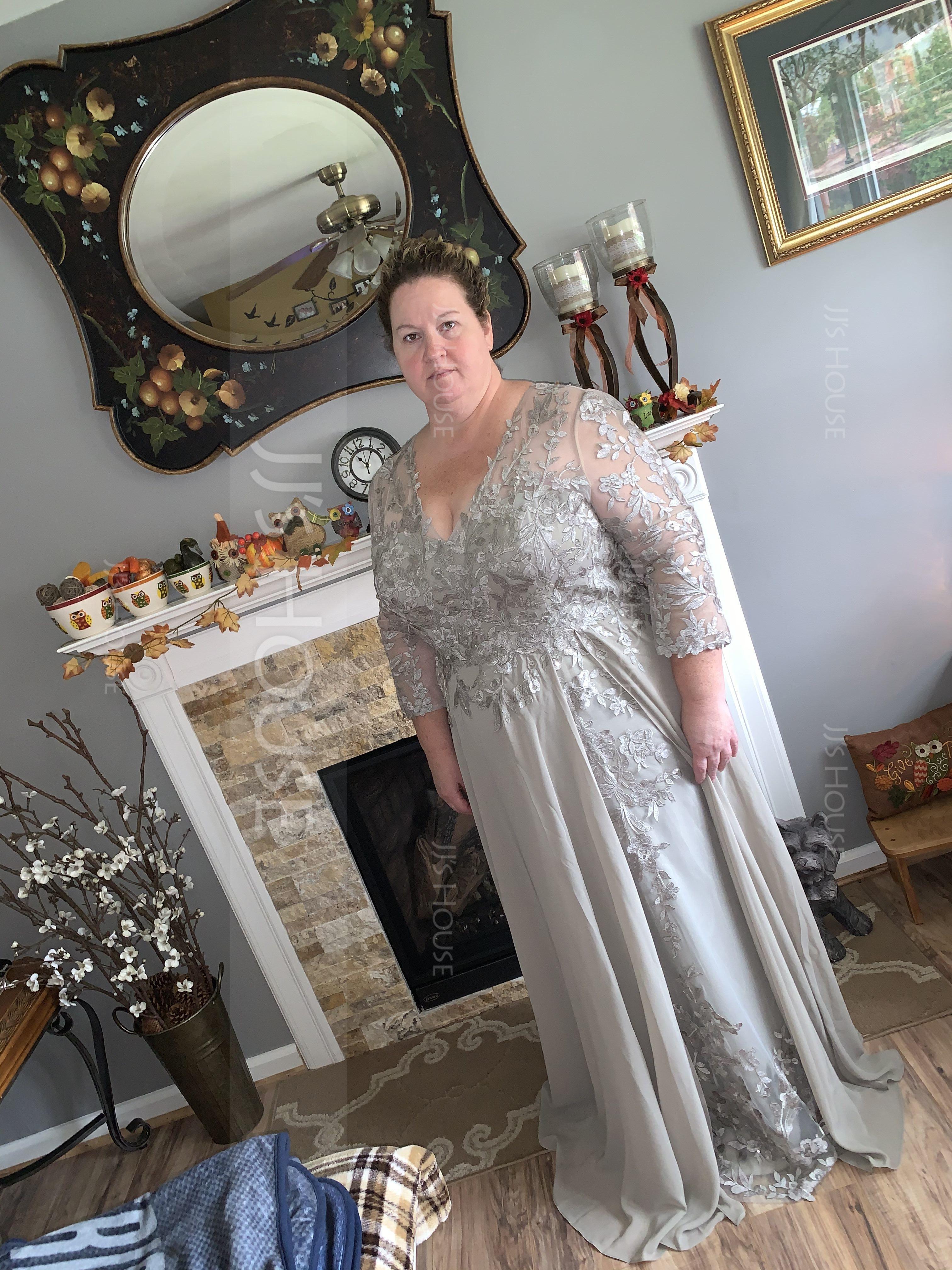 A-Line V-neck Floor-Length Chiffon Prom Dresses (018221169)