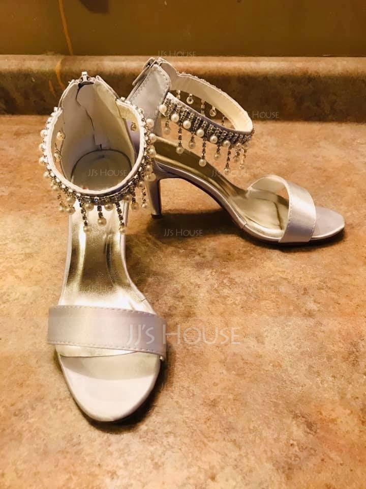 Women's Silk Like Satin Stiletto Heel Peep Toe Pumps Sandals With Tassel (273198053)