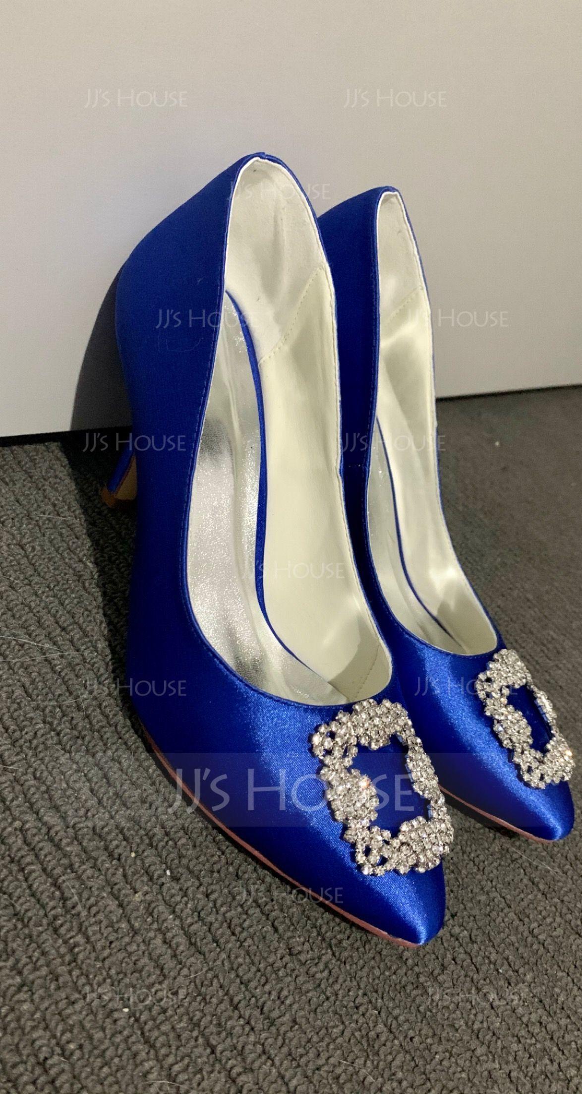 Women's Satin Stiletto Heel Closed Toe Pumps With Rhinestone (273203798)