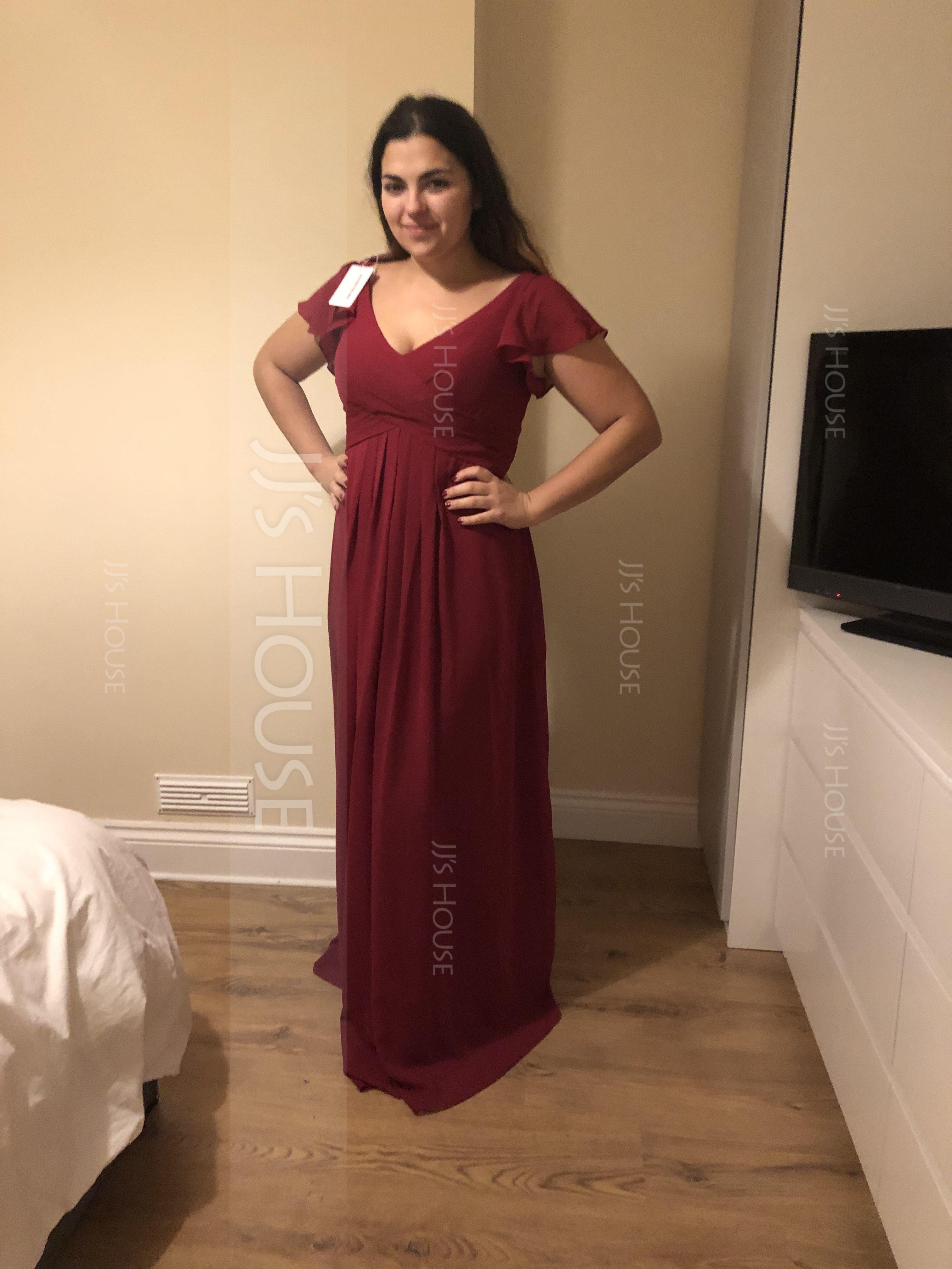 V-neck Floor-Length Chiffon Bridesmaid Dress With Cascading Ruffles Pockets (266197600)