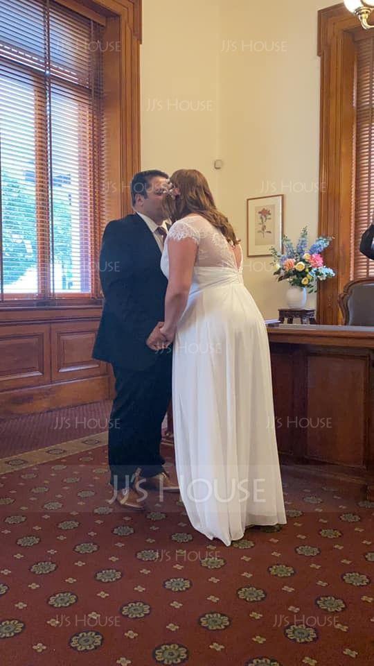 A-Line V-neck Floor-Length Chiffon Lace Wedding Dress With Ruffle (002127339)