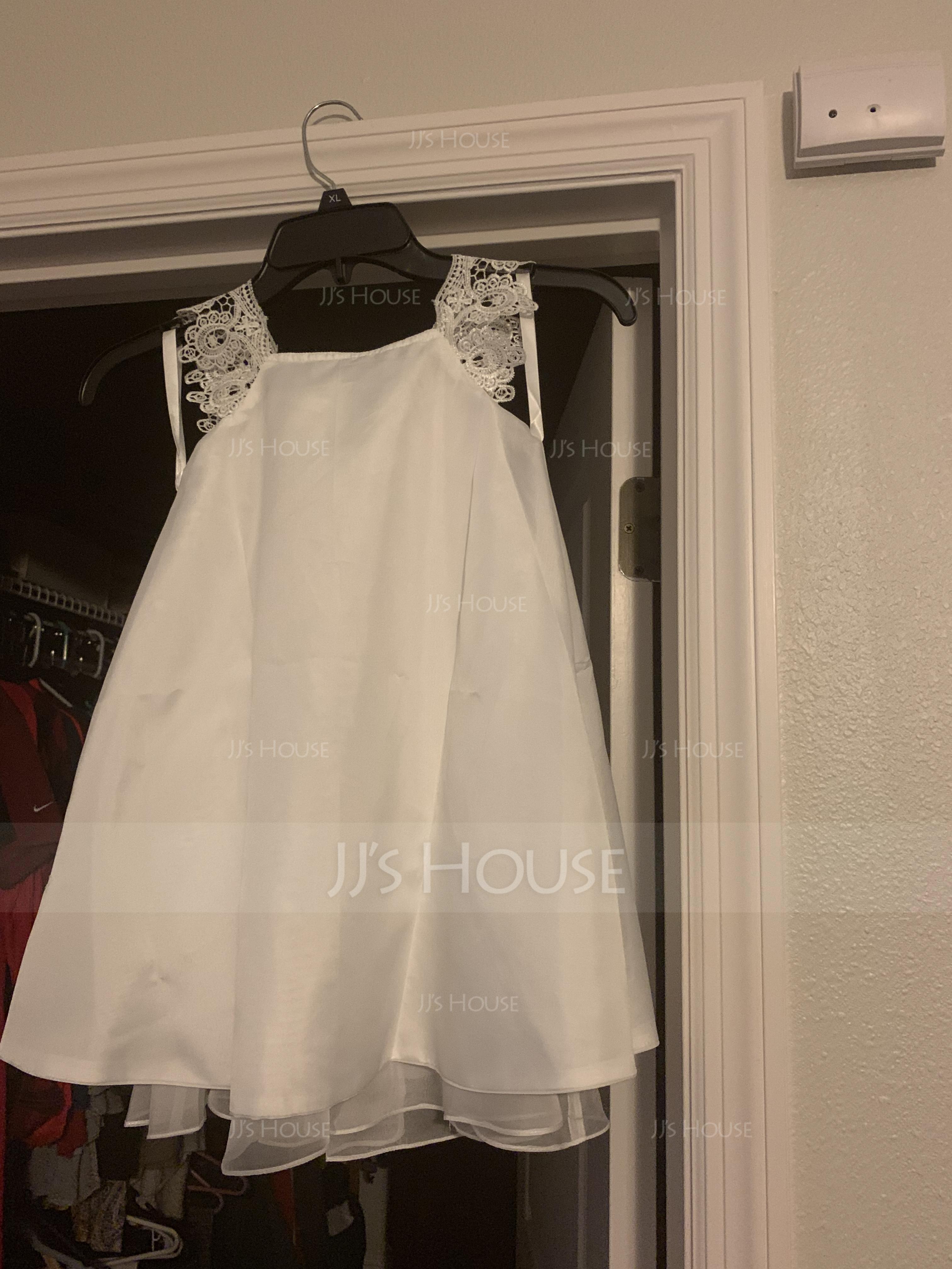 A-Line/Princess Tea-length Flower Girl Dress - Chiffon Sleeveless Scoop Neck With Lace (010091218)