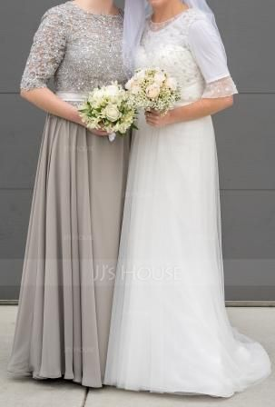 A-Line Scoop Neck Floor-Length Chiffon Mother of the Bride Dress With Beading Sequins (008085282)