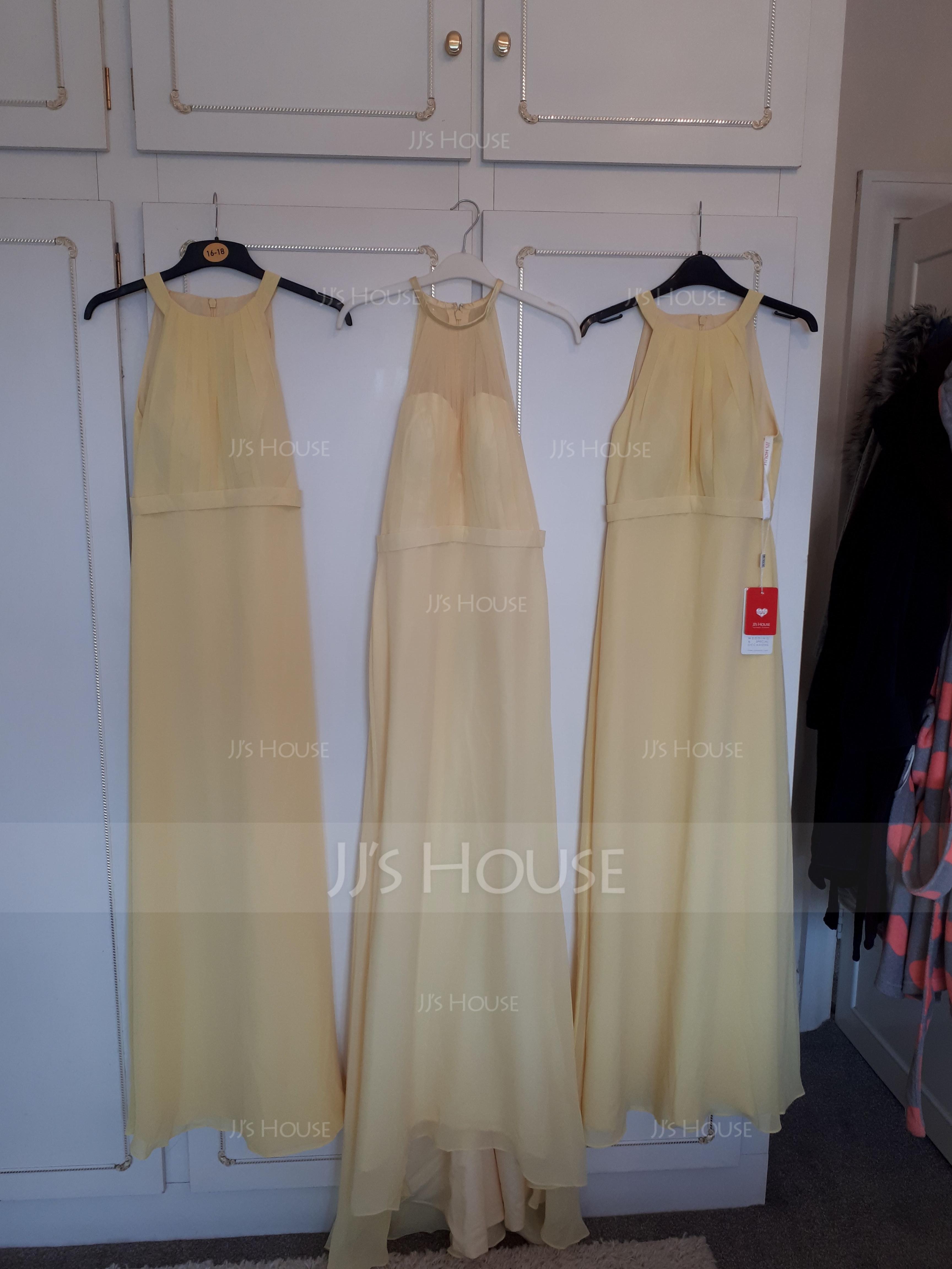 Trumpet/Mermaid Scoop Neck Sweep Train Chiffon Tulle Bridesmaid Dress With Ruffle (266177022)