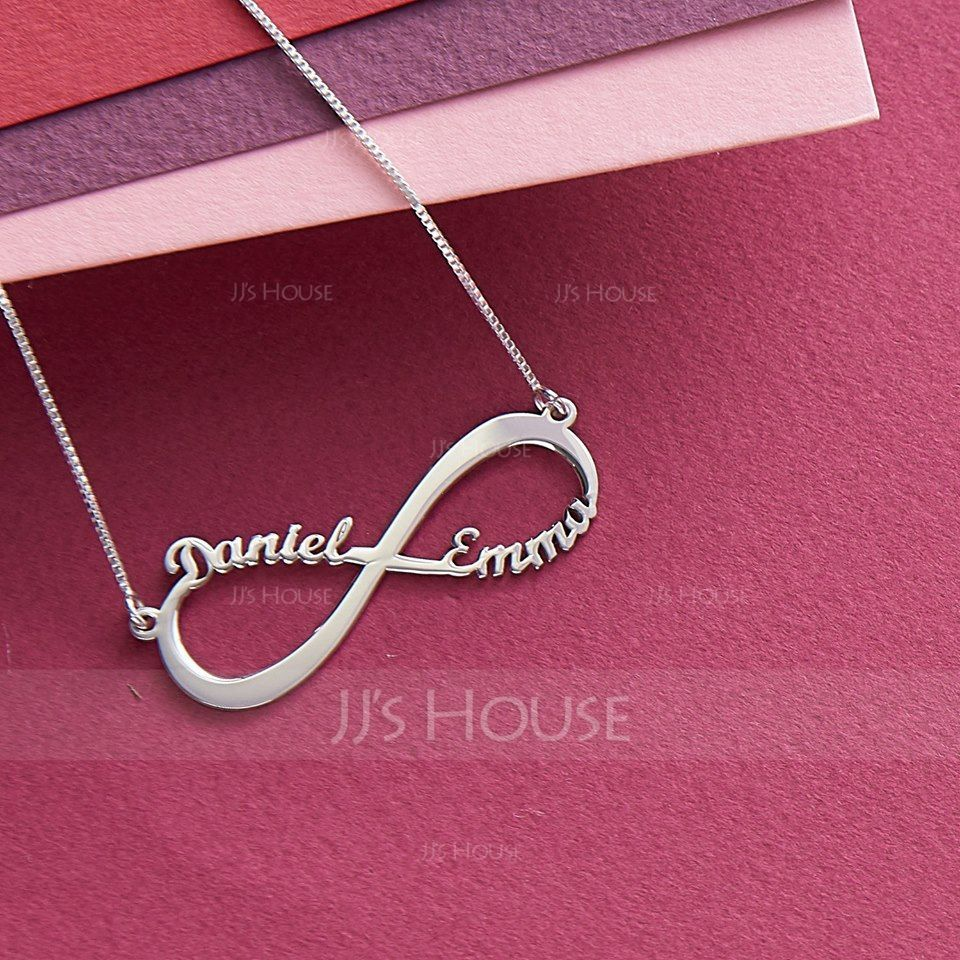 Custom Sterling Silver Infinity Two Name Necklace Infinity Name Necklace - Valentines Gifts (288211245)