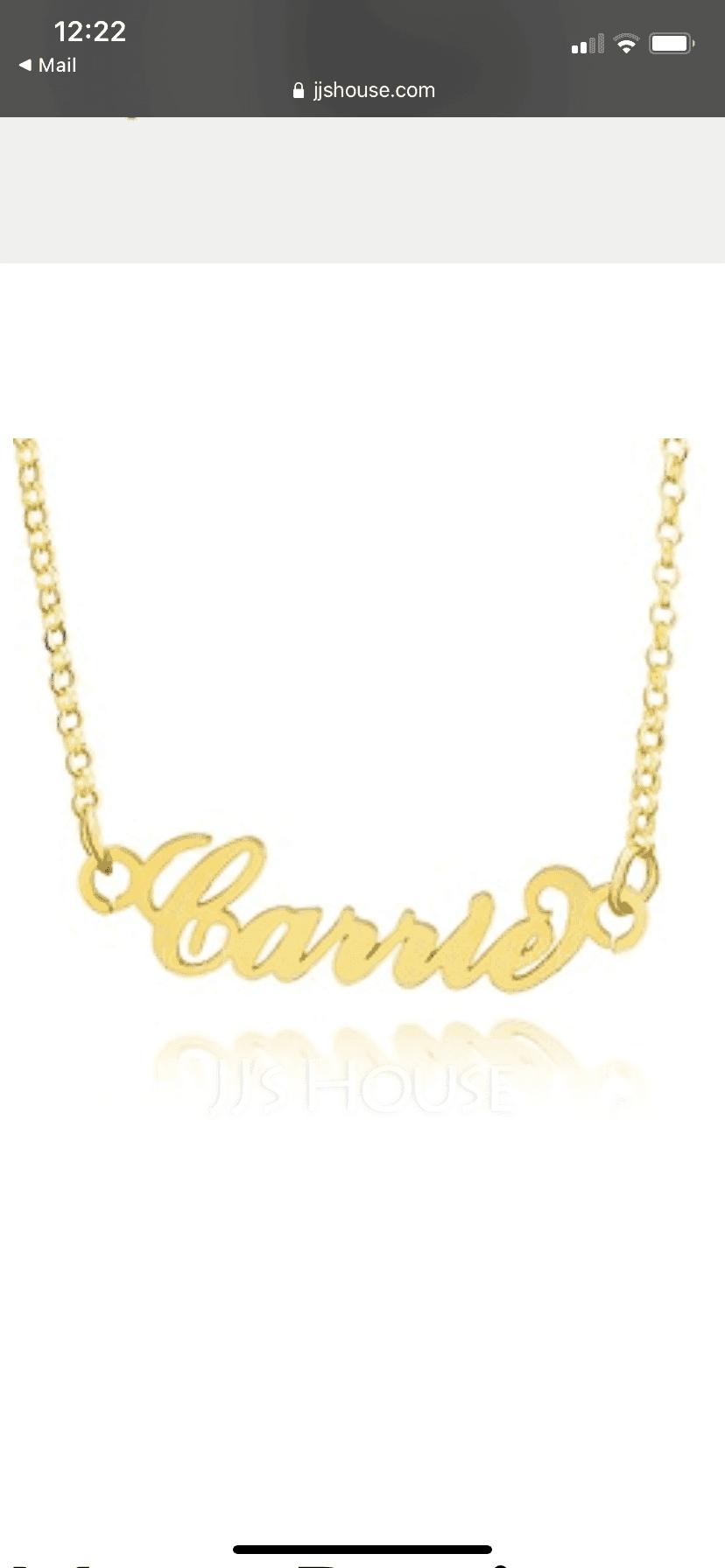 パーソナライズ 18Kゴールドメッキ キャリー ネームネックレス - 誕生日プレゼント 母の日ギフト
