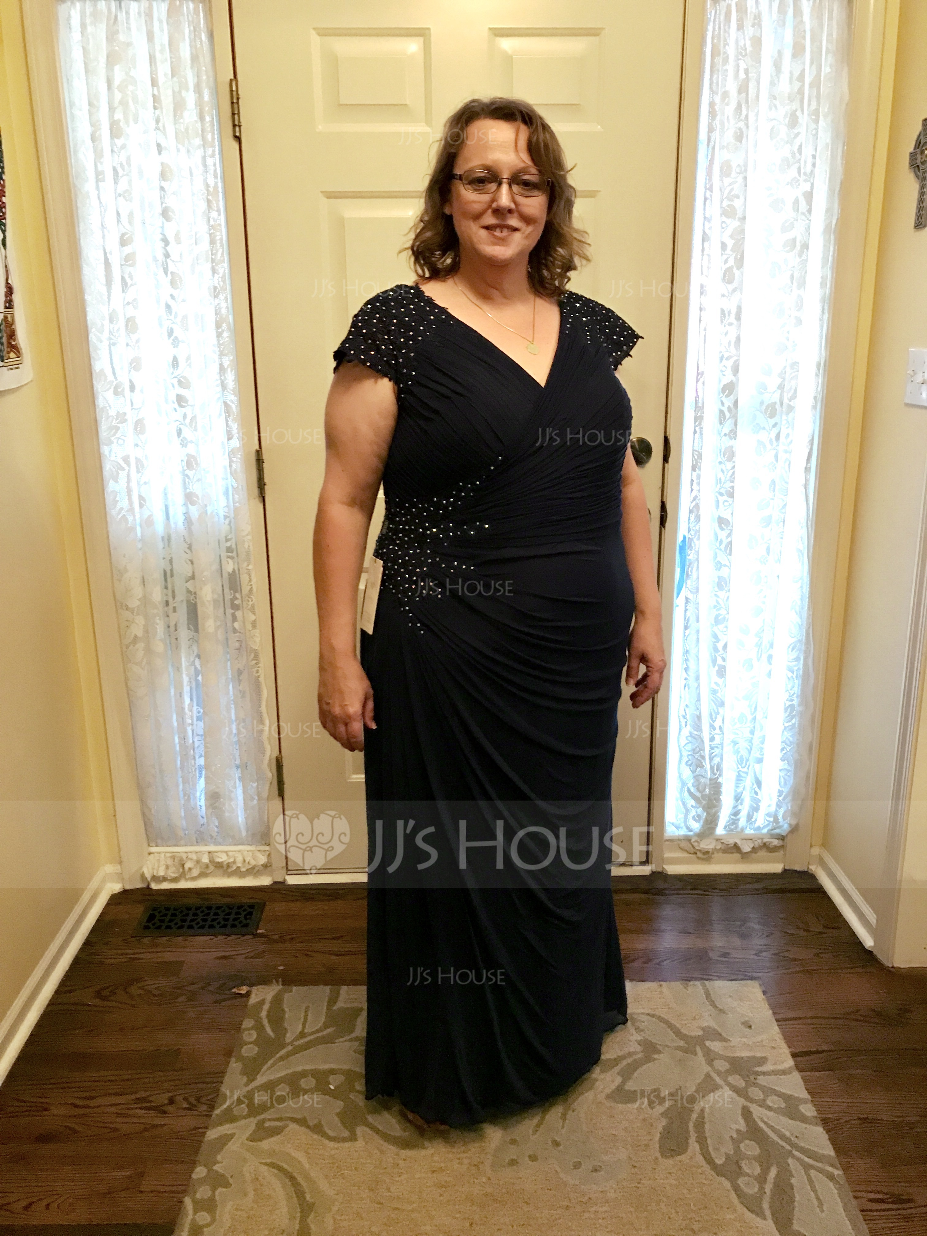 A-Linie/Princess-Linie V-Ausschnitt Bodenlang Jersey Kleid für die Brautmutter mit Perlstickerei (008118044)