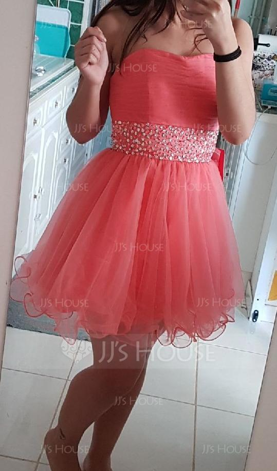 A-Line/Princess Sweetheart Short/Mini Tulle Homecoming Dress With Beading Sequins (022020909)