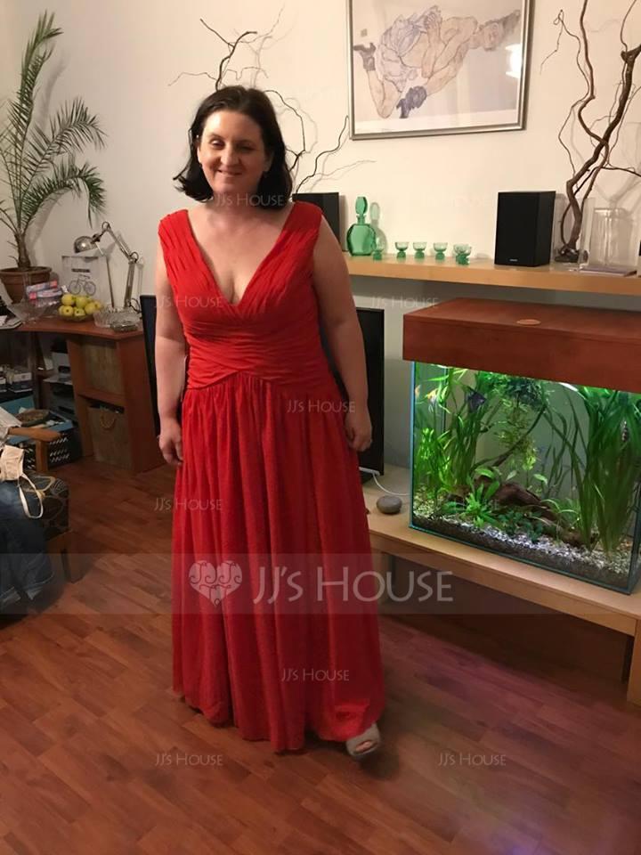 A-Linie/Princess-Linie V-Ausschnitt Bodenlang Chiffon Abendkleid mit Rüschen (017071582)