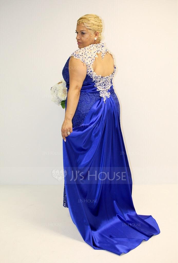 Trompete/Meerjungfrau-Linie U-Ausschnitt Watteau-falte Spitze Kleid für die Brautmutter mit Perlstickerei Pailletten (008102700)