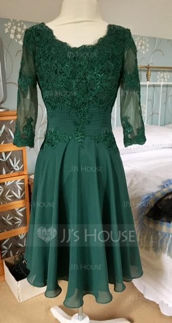 A-Linie U-Ausschnitt Knielang Chiffon Kleid für die Brautmutter mit Rüschen Applikationen Spitze (008085301)