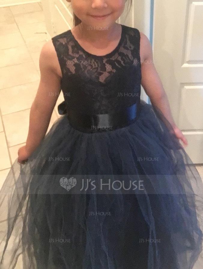 Duchesse-Linie/Princess U-Ausschnitt Bodenlang Tüll Kleider für junge Brautjungfern mit Schleifenbänder/Stoffgürtel (009126265)