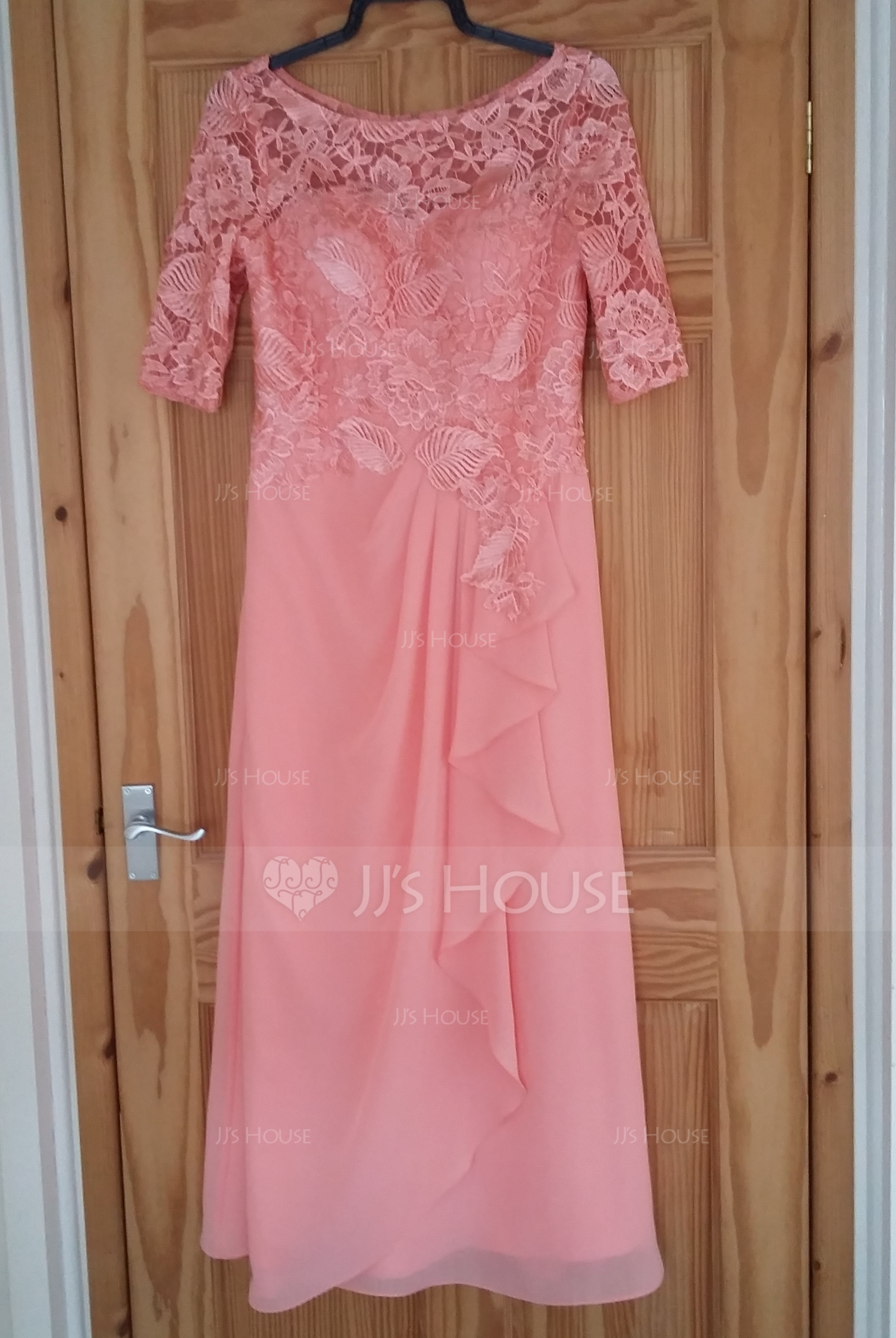 A-Line/Princess Scoop Neck Floor-Length Chiffon Lace Mother of the ...