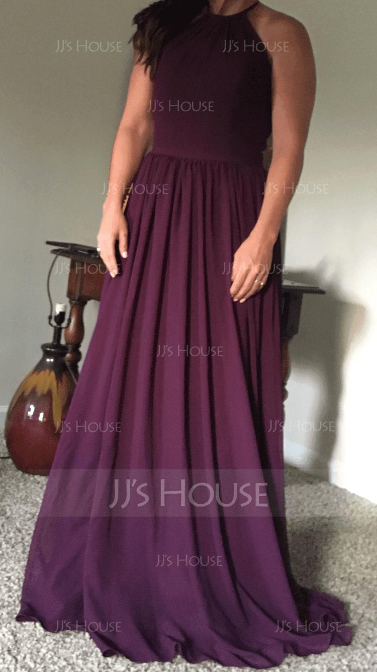 Chiffon Halter-neck Floor-length Bridesmaid Dress