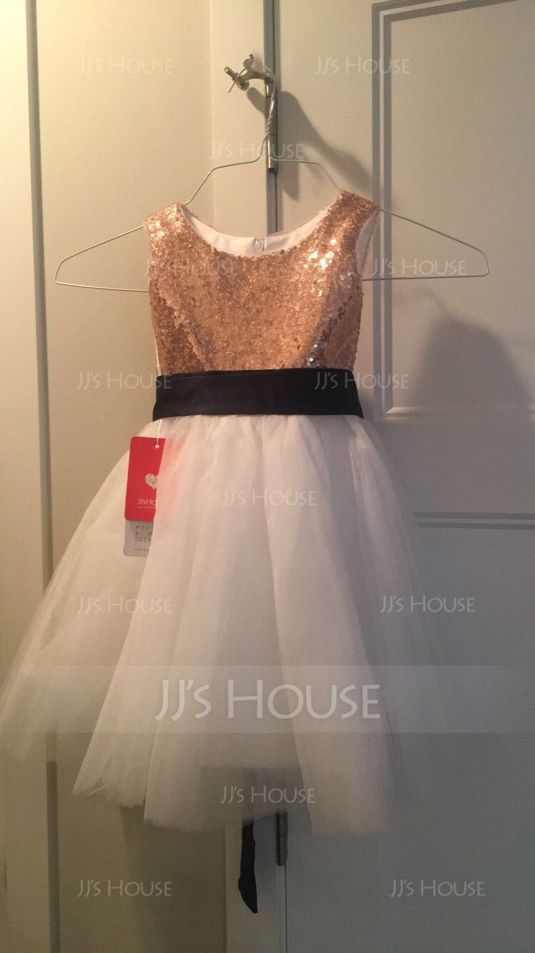 A-Line/Princess Knee-length Flower Girl Dress - Sequined Sleeveless Scoop Neck With Sash (010089130)