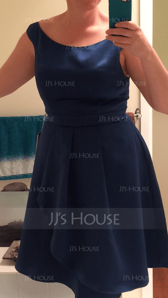 Scoop Neck Knee-Length Satin Bridesmaid Dress With Cascading Ruffles (266195840)