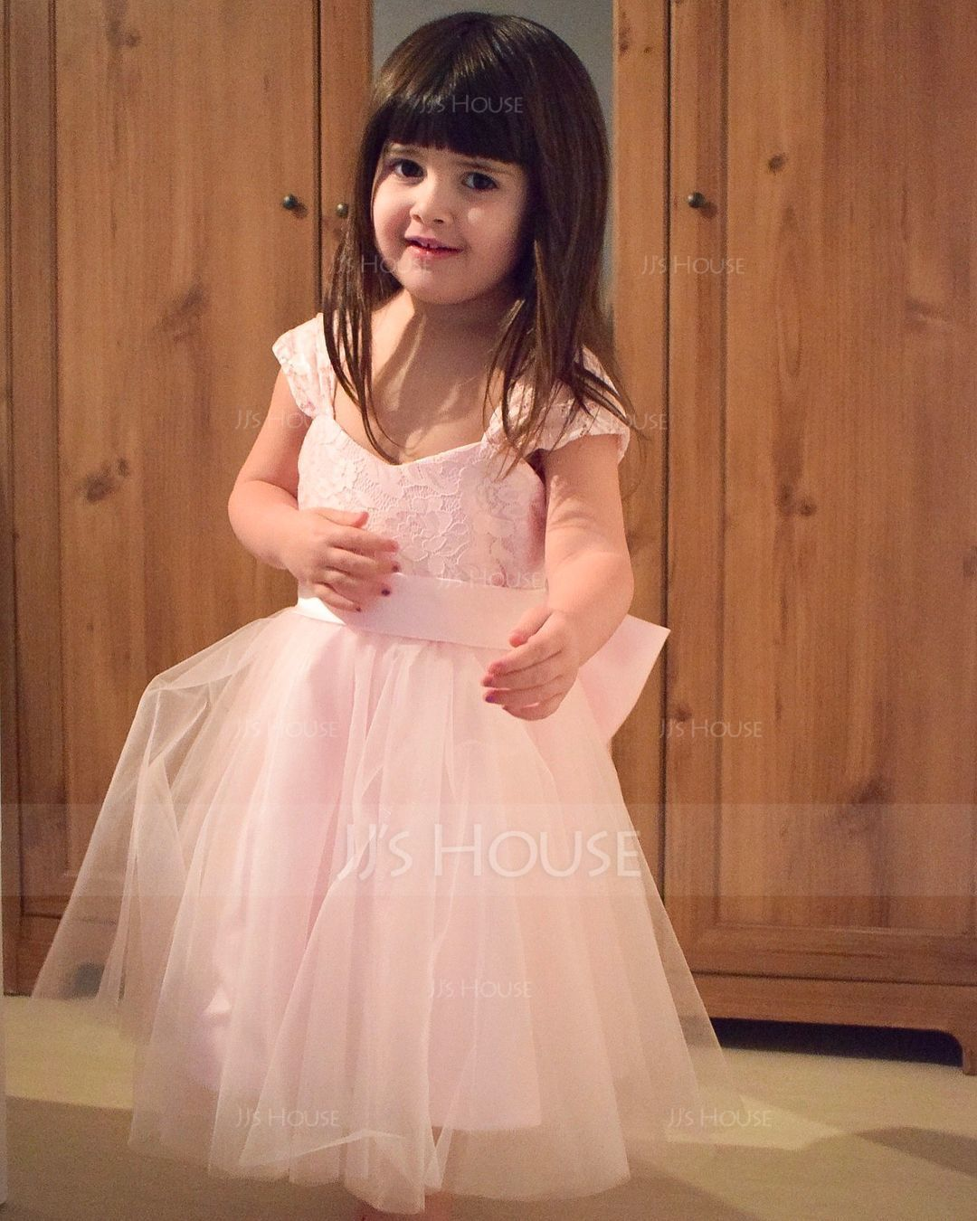 A-Line/Princess Knee-length Flower Girl Dress - Satin/Tulle/Lace Sleeveless Straps With Bow(s) (Undetachable sash) (010146218)