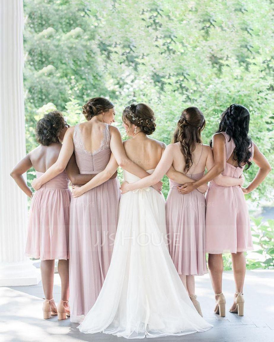 A-Line V-neck Knee-Length Chiffon Bridesmaid Dress With Beading (007144728)
