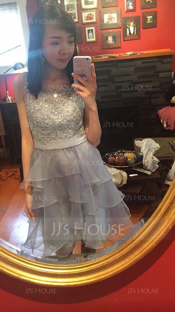 A-Line Square Neckline Asymmetrical Organza Homecoming Dress (022093441)
