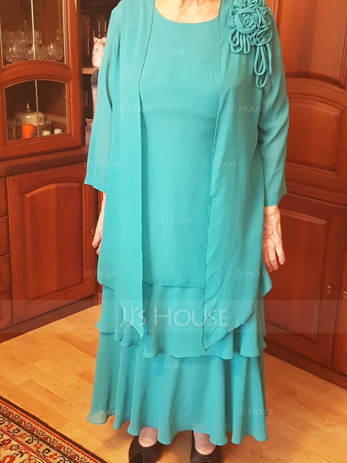 A-Line Scoop Neck Ankle-Length Chiffon Mother of the Bride Dress (008056828)