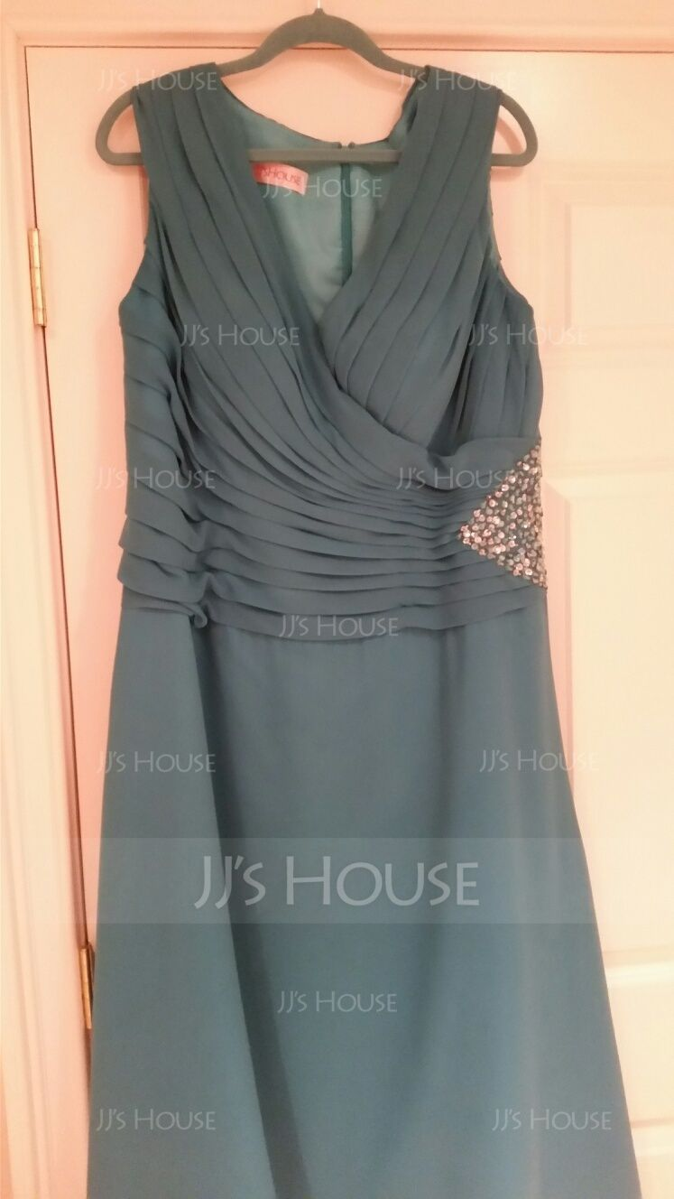 A-Line V-neck Ankle-Length Chiffon Mother of the Bride Dress With Ruffle Beading (008005756)